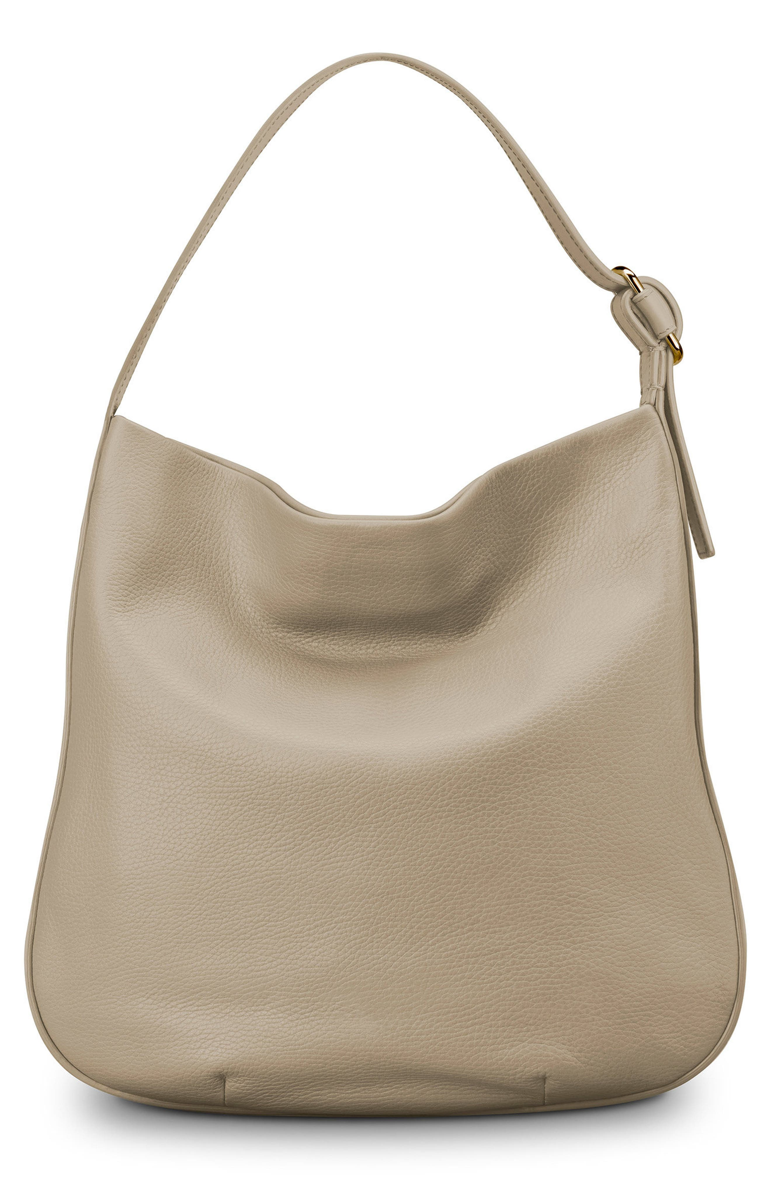 Birdy Grained Leather Hobo Bag,                             Alternate thumbnail 3, color,                             STONE