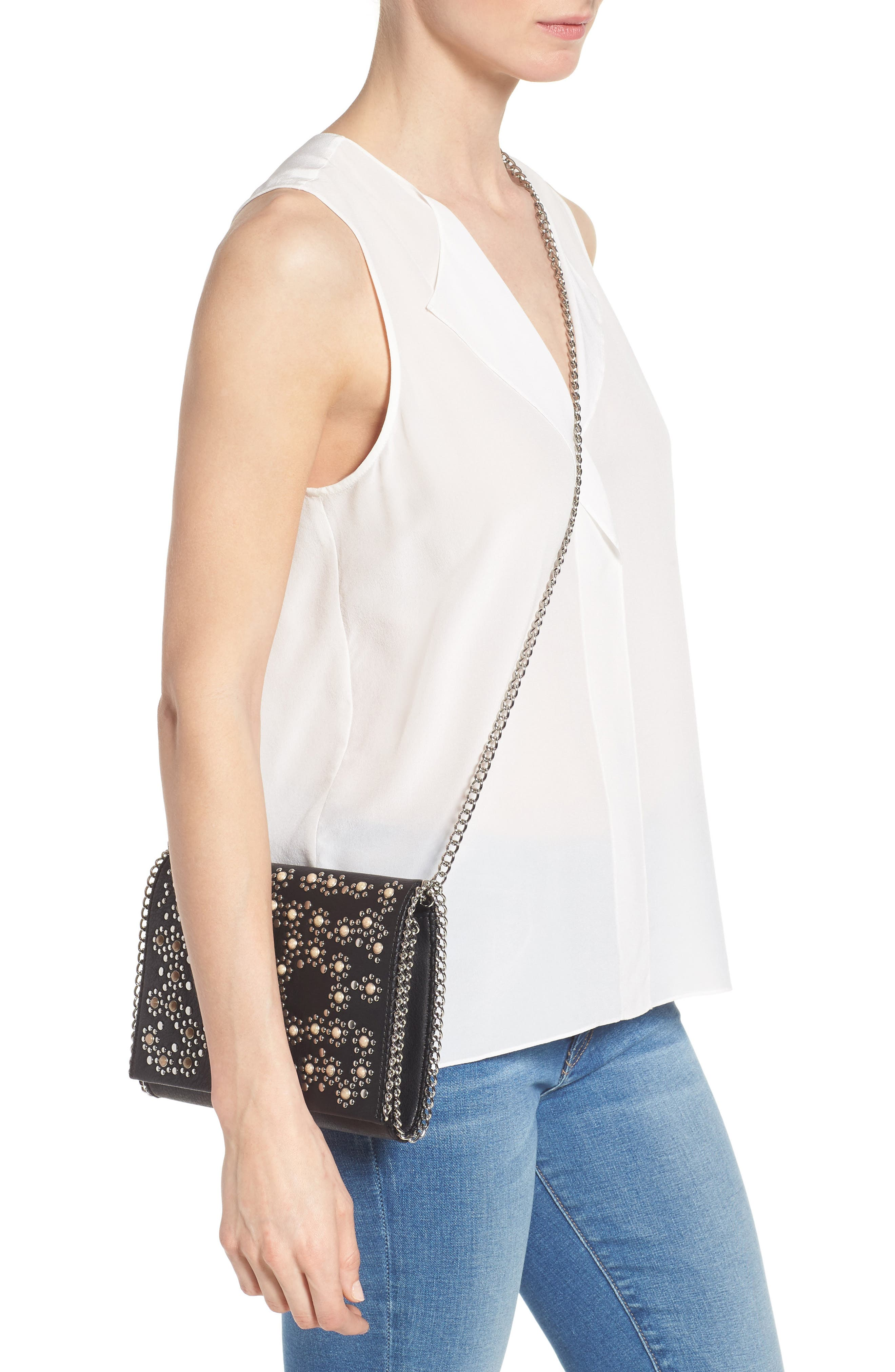 Embellished Faux Leather Convertible Clutch,                             Alternate thumbnail 2, color,                             001