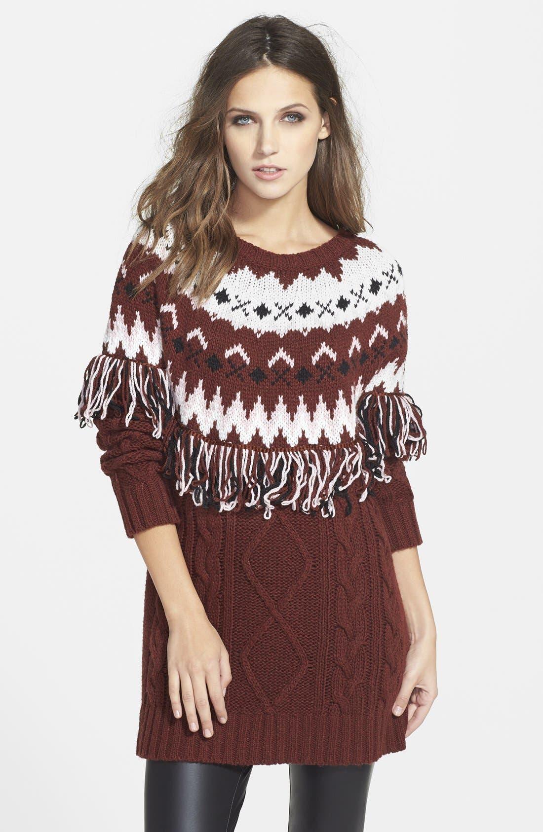 Fringe Tunic Sweater Dress, Main, color, 930