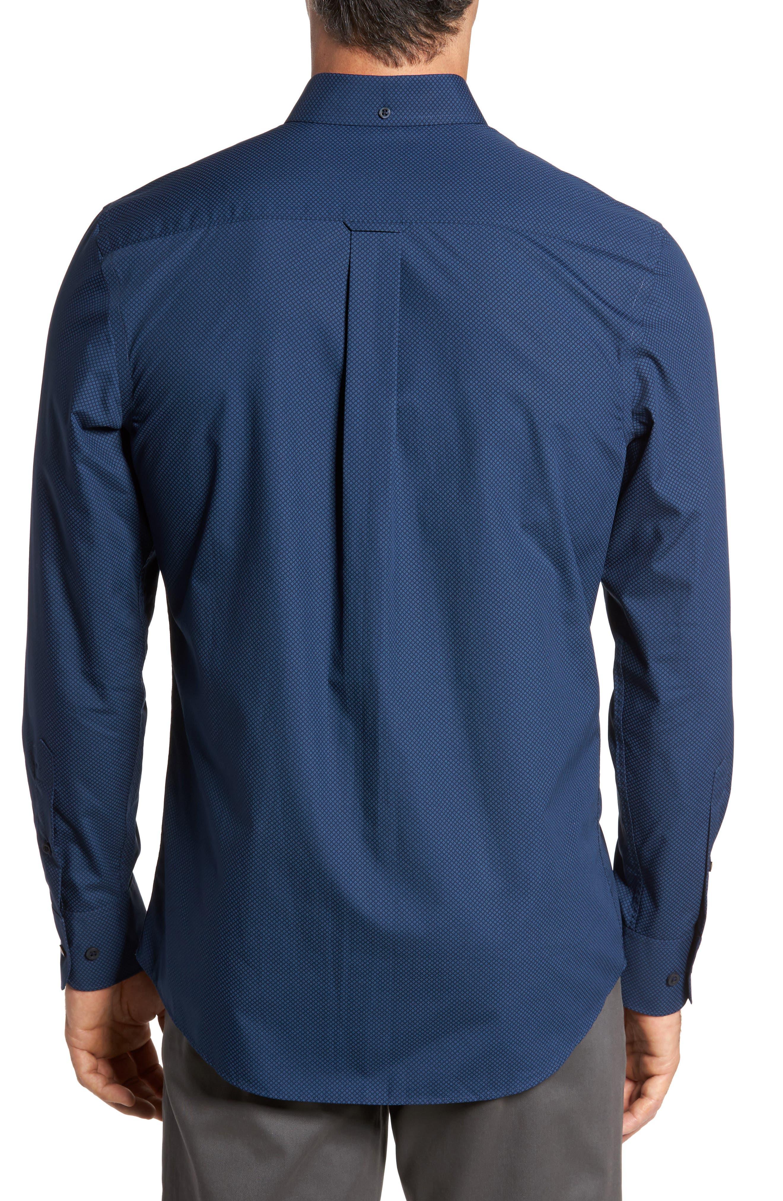 Regular Fit Non-Iron Diamond Print Sport Shirt,                             Alternate thumbnail 2, color,