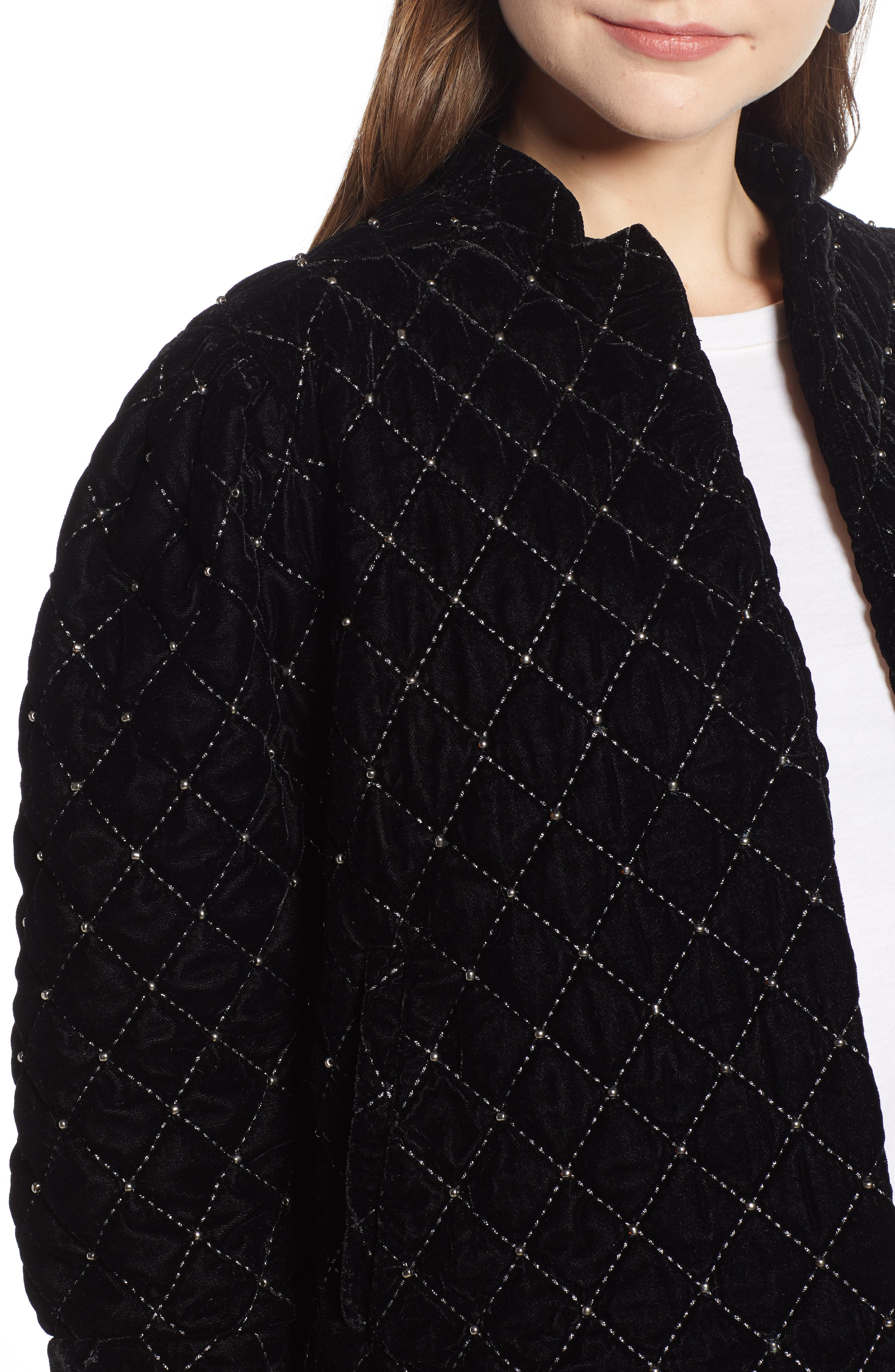 Quilted Velvet Jacket,                             Alternate thumbnail 4, color,                             BLACK