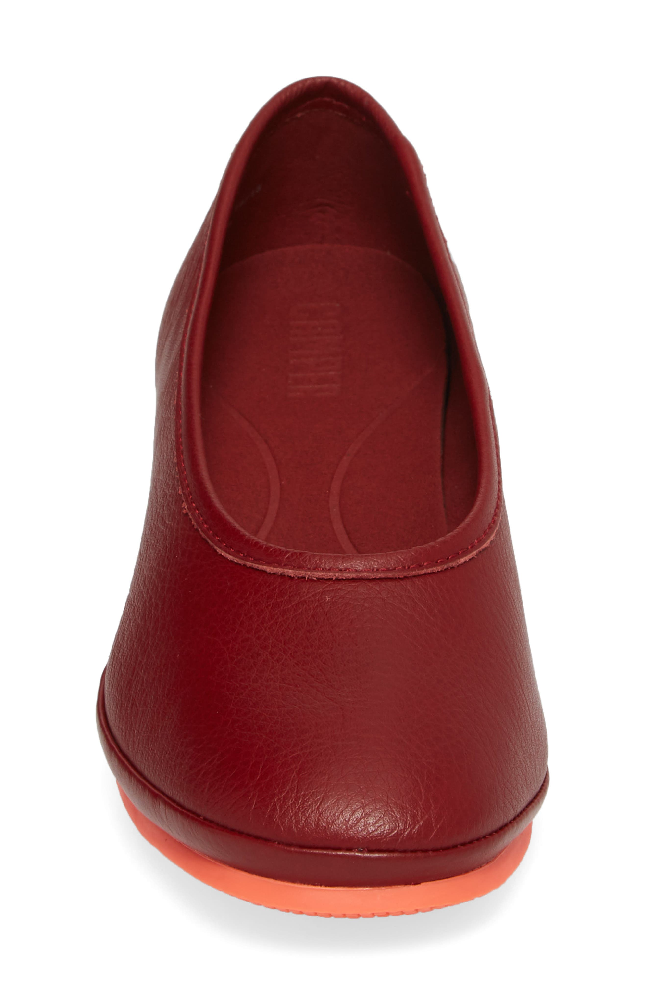 Alright Cone Heel Pump,                             Alternate thumbnail 4, color,                             DARK RED LEATEHR