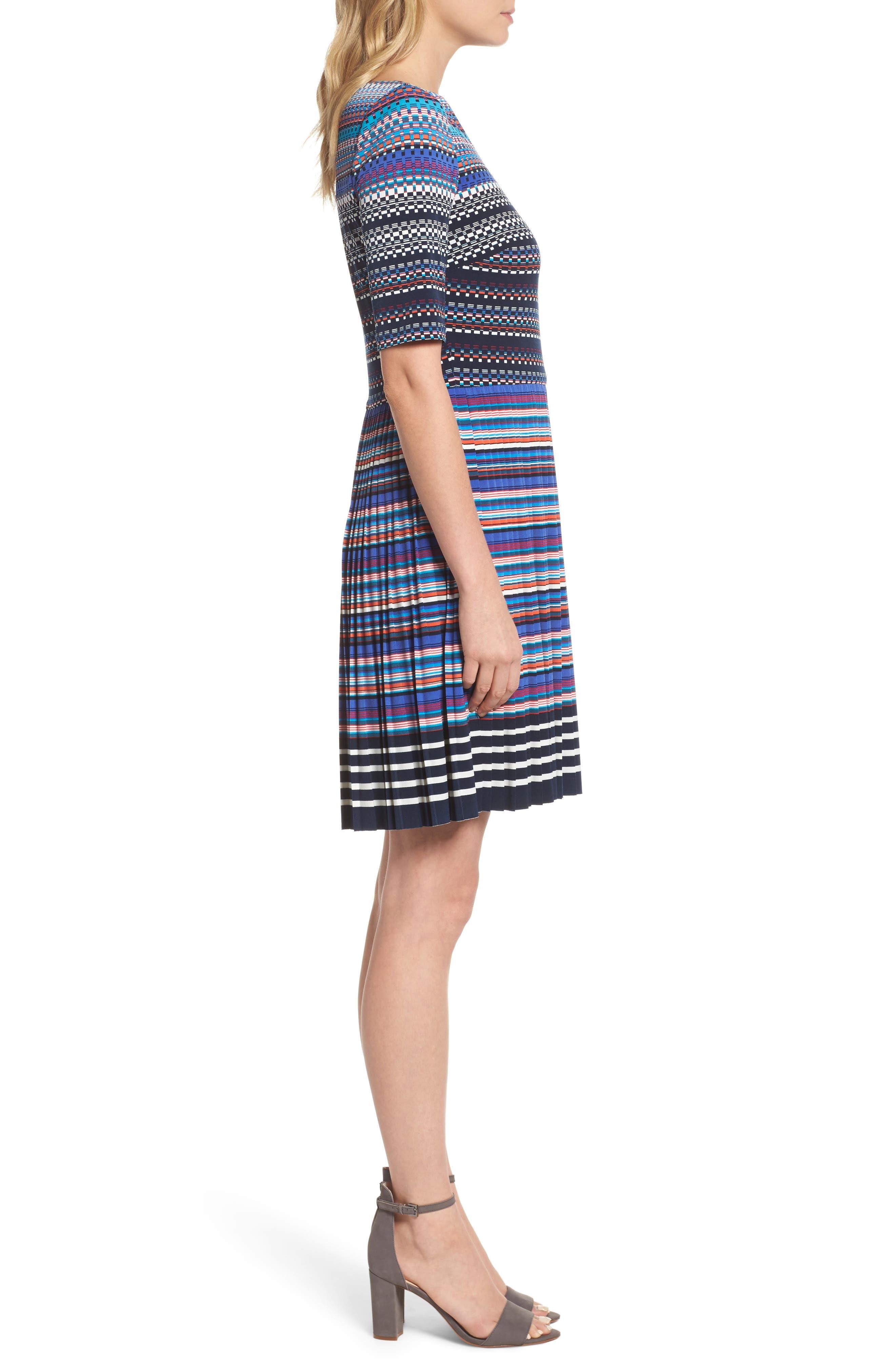 Pleat Fit & Flare Dress,                             Alternate thumbnail 3, color,                             466