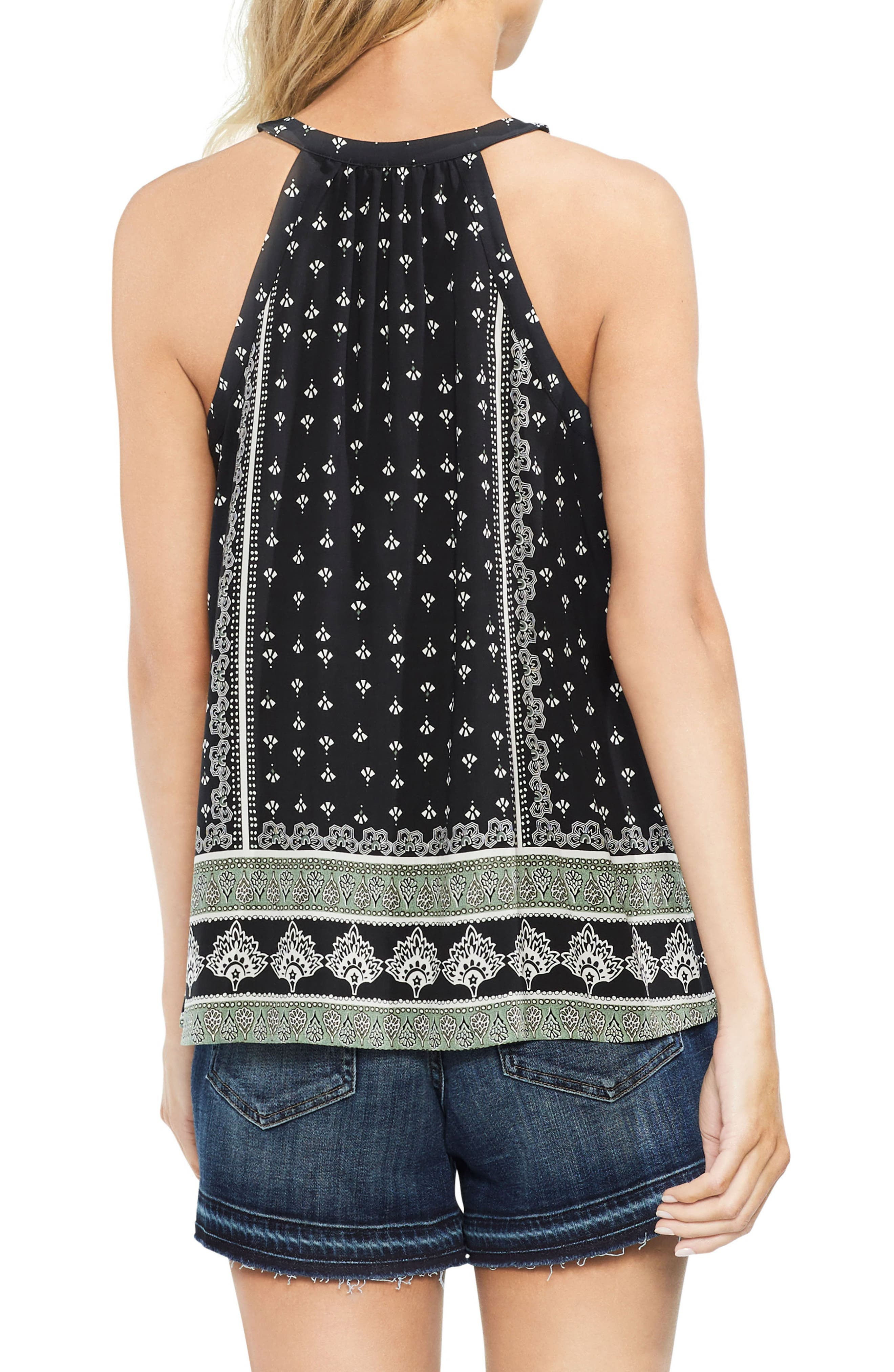 VINCE CAMUTO,                             Halter Style Print Top,                             Alternate thumbnail 2, color,                             001