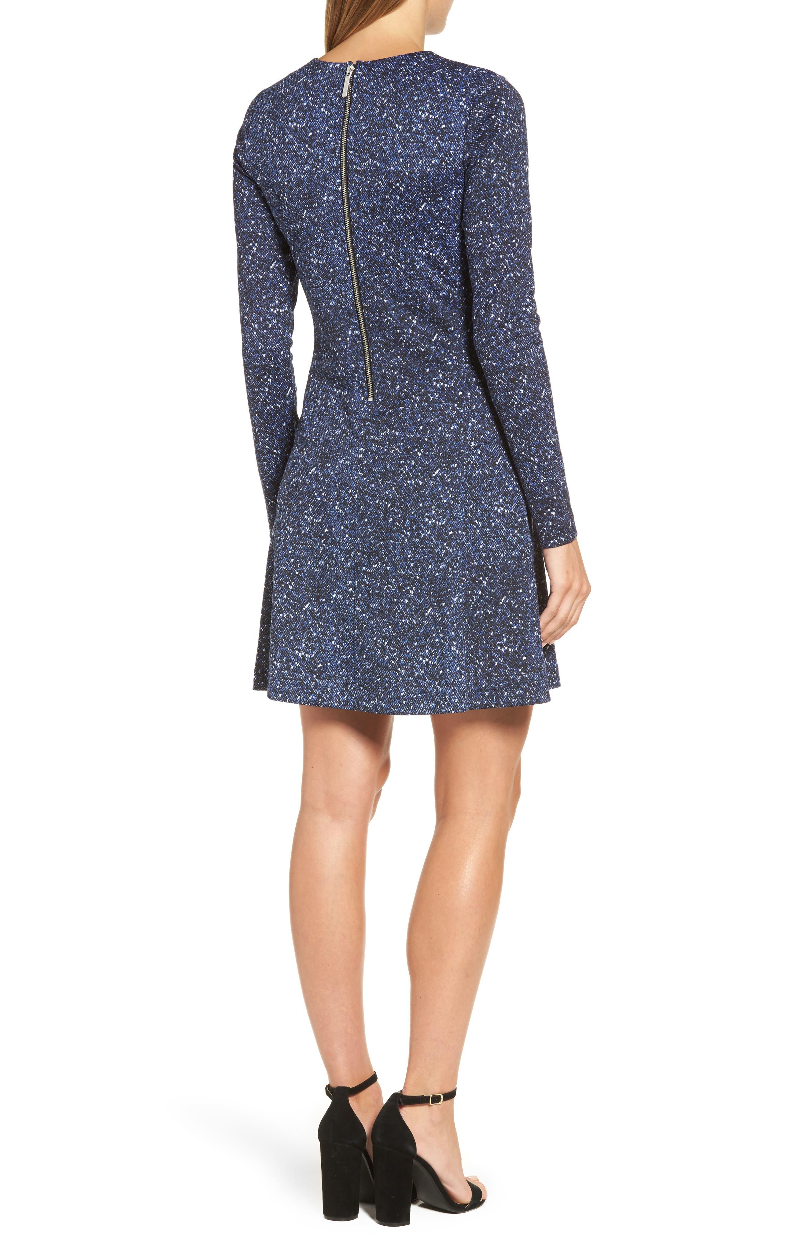 Tweed Print A-Line Dress,                             Alternate thumbnail 2, color,                             403