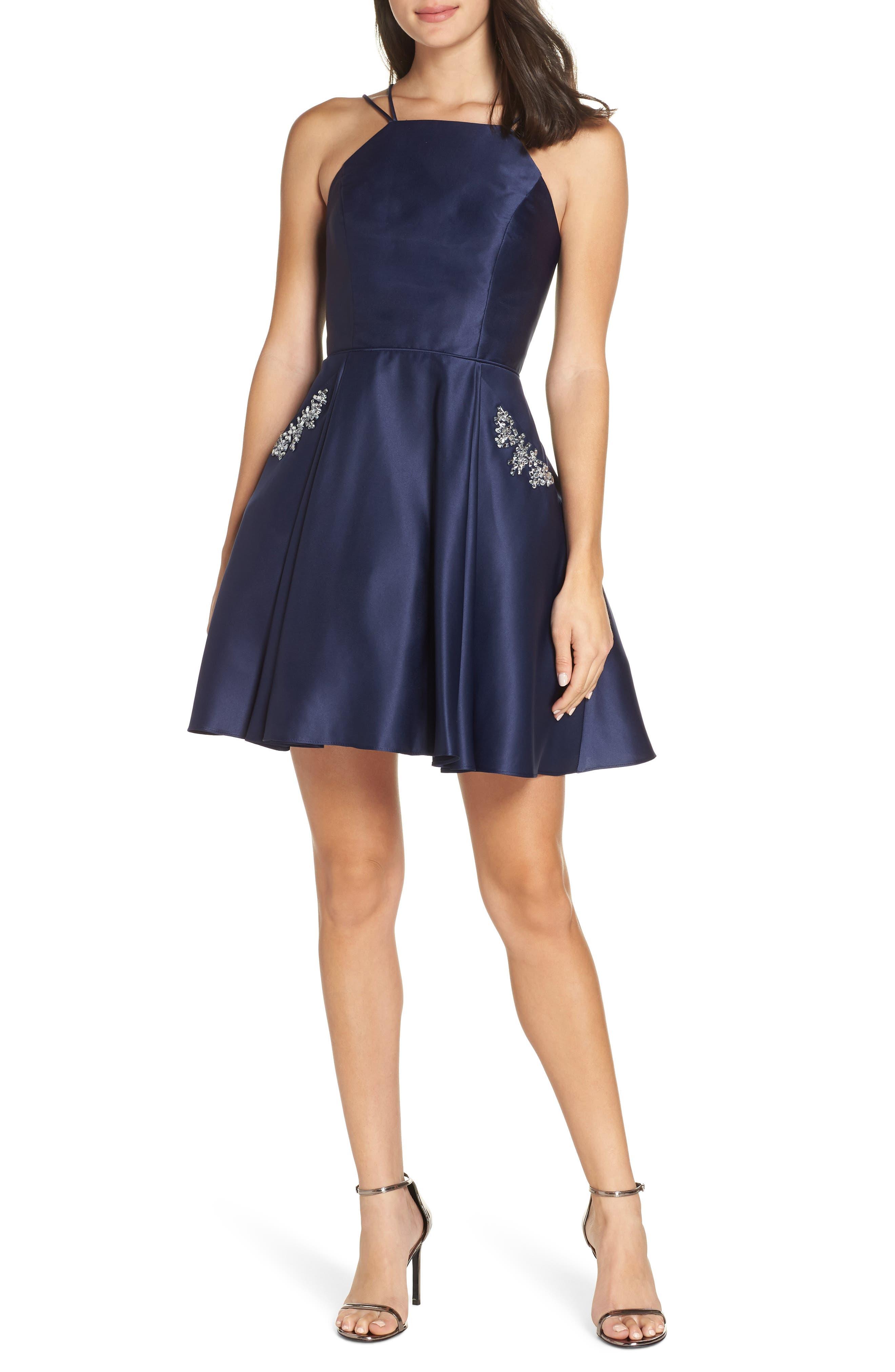 Blondie Nites Satin Halter Neck Party Dress, Blue