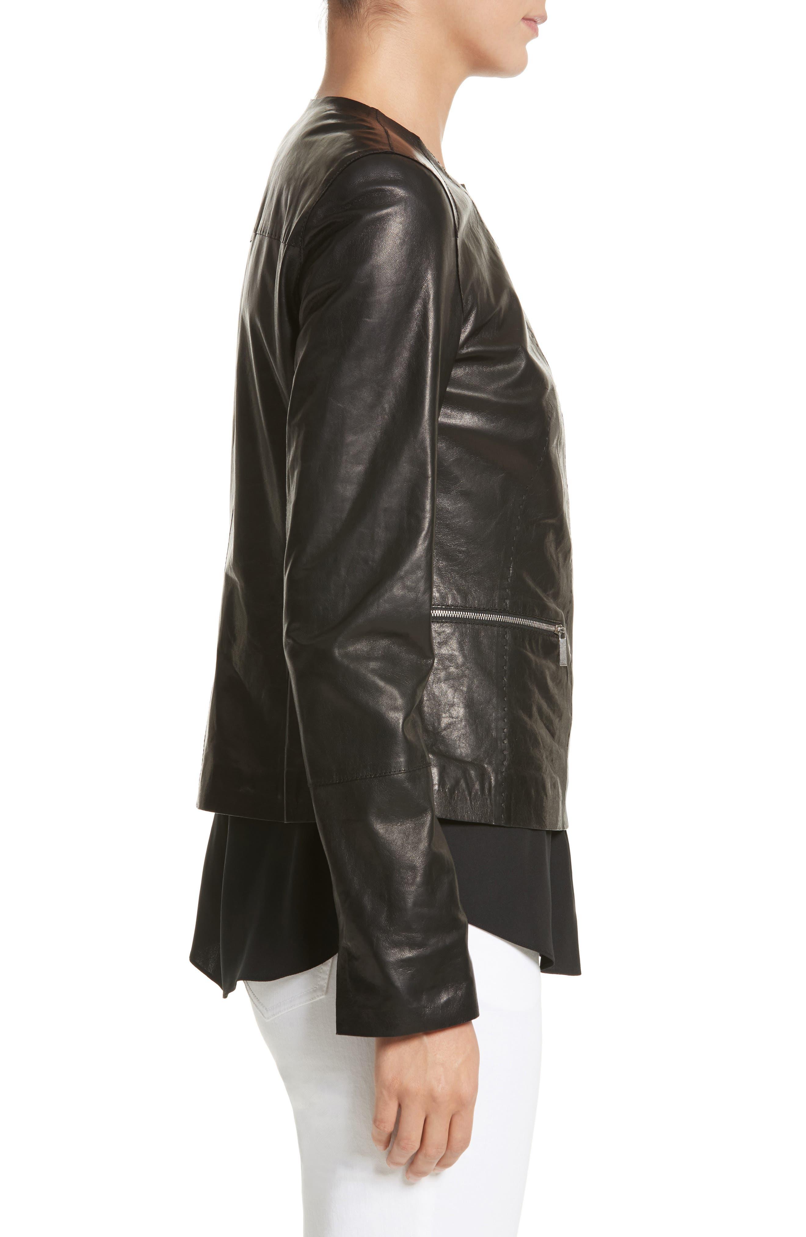 Caridee Glazed Lambskin Leather Jacket,                             Alternate thumbnail 3, color,                             001