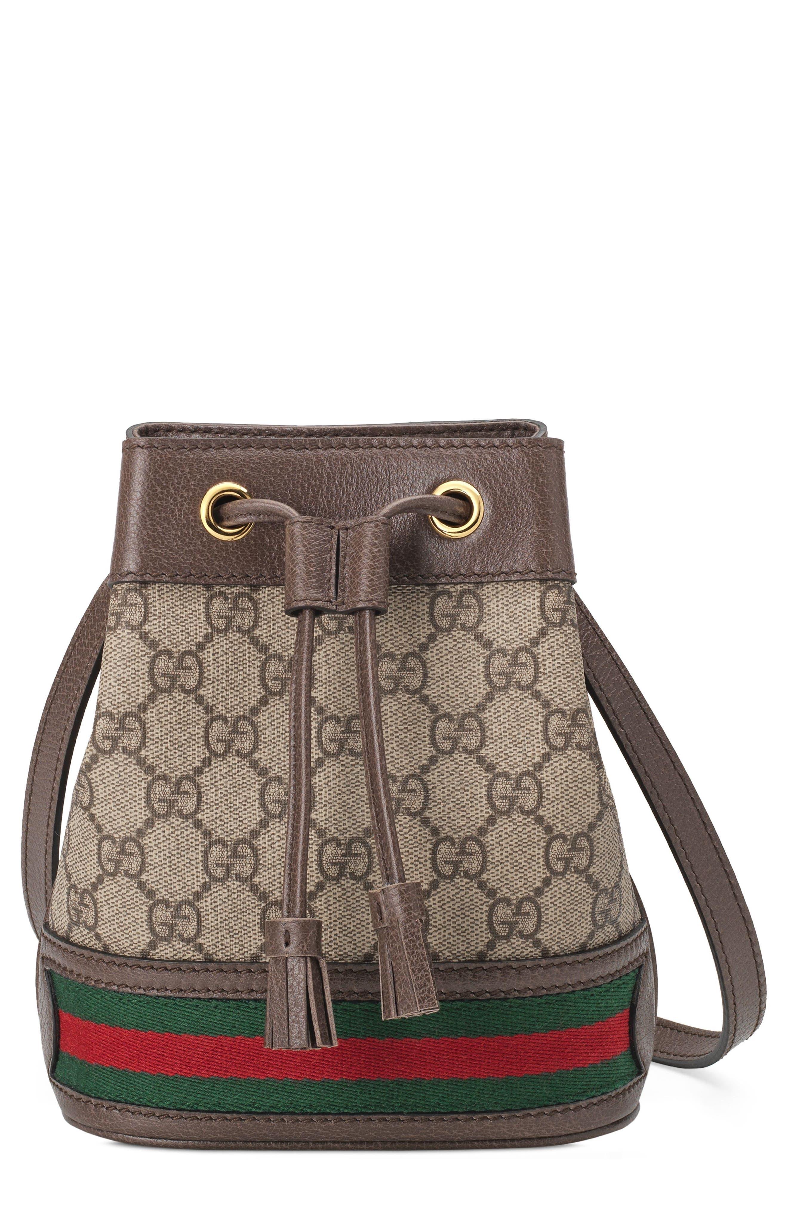 Mini Ophidia GG Supreme Bucket Bag,                             Main thumbnail 1, color,                             BEIGE EBONY/ NEW ACERO