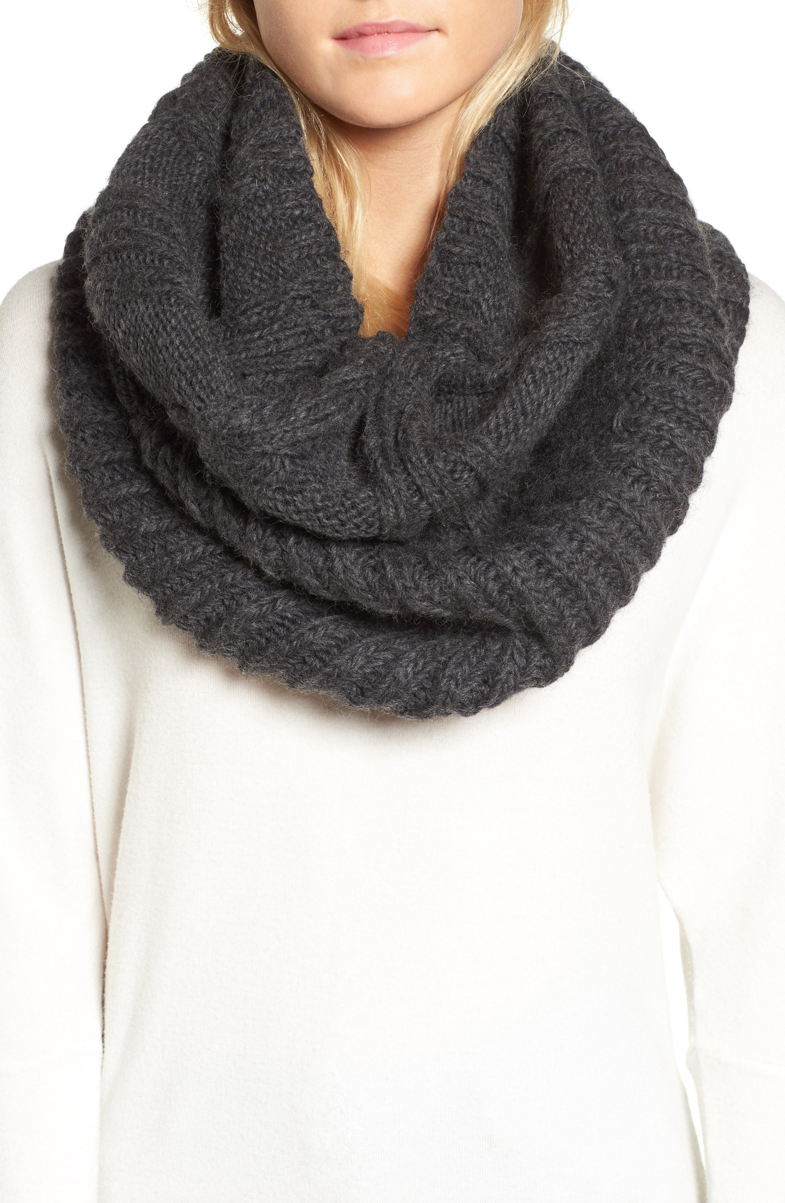 Oversize Cable Knit Wool Infinity Scarf,                         Main,                         color,