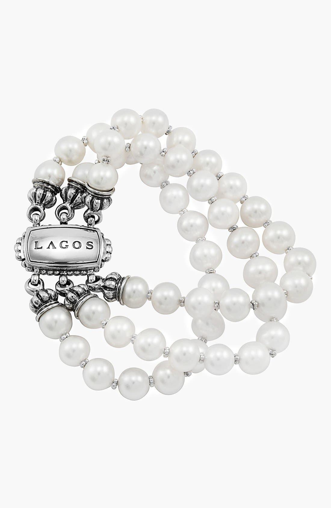 'Luna' Triple Strand Pearl Bracelet,                         Main,                         color, 040