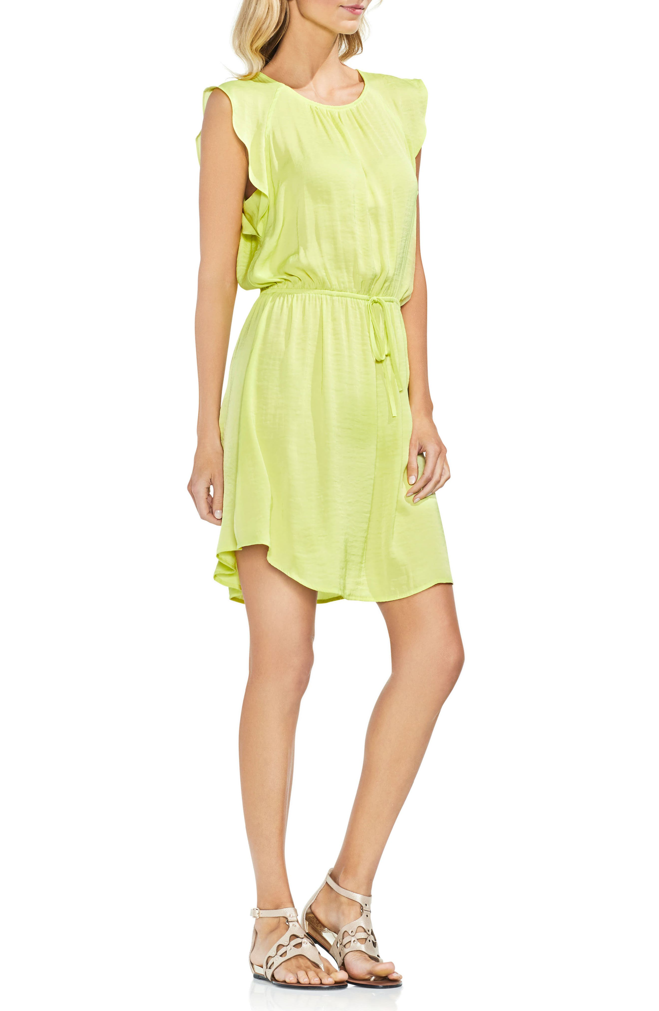 Tie Waist Rumple Mini Dress,                         Main,                         color, 300