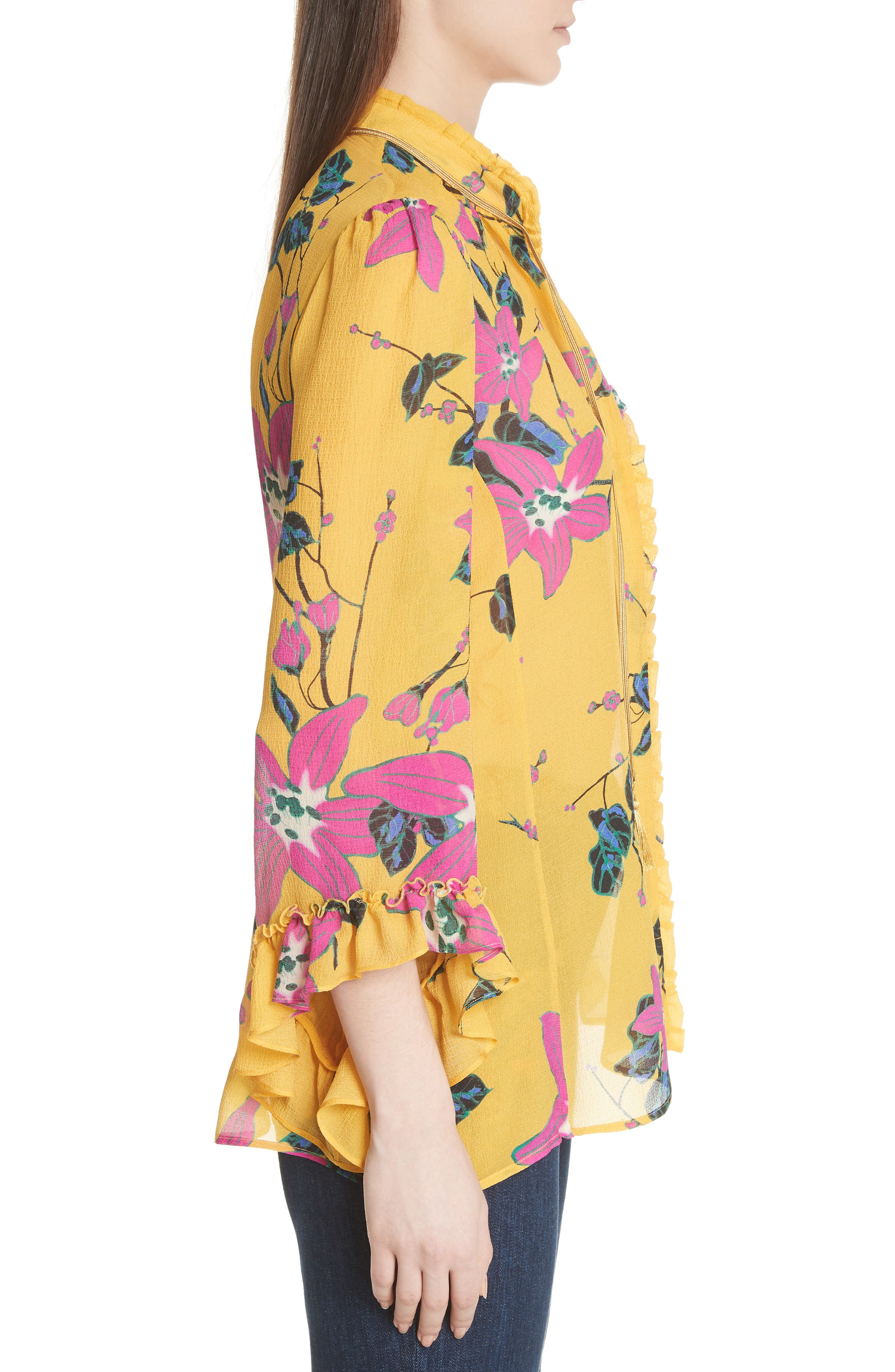 Lily Print Tie Neck Silk Blouse,                             Alternate thumbnail 3, color,                             YELLOW MULTI