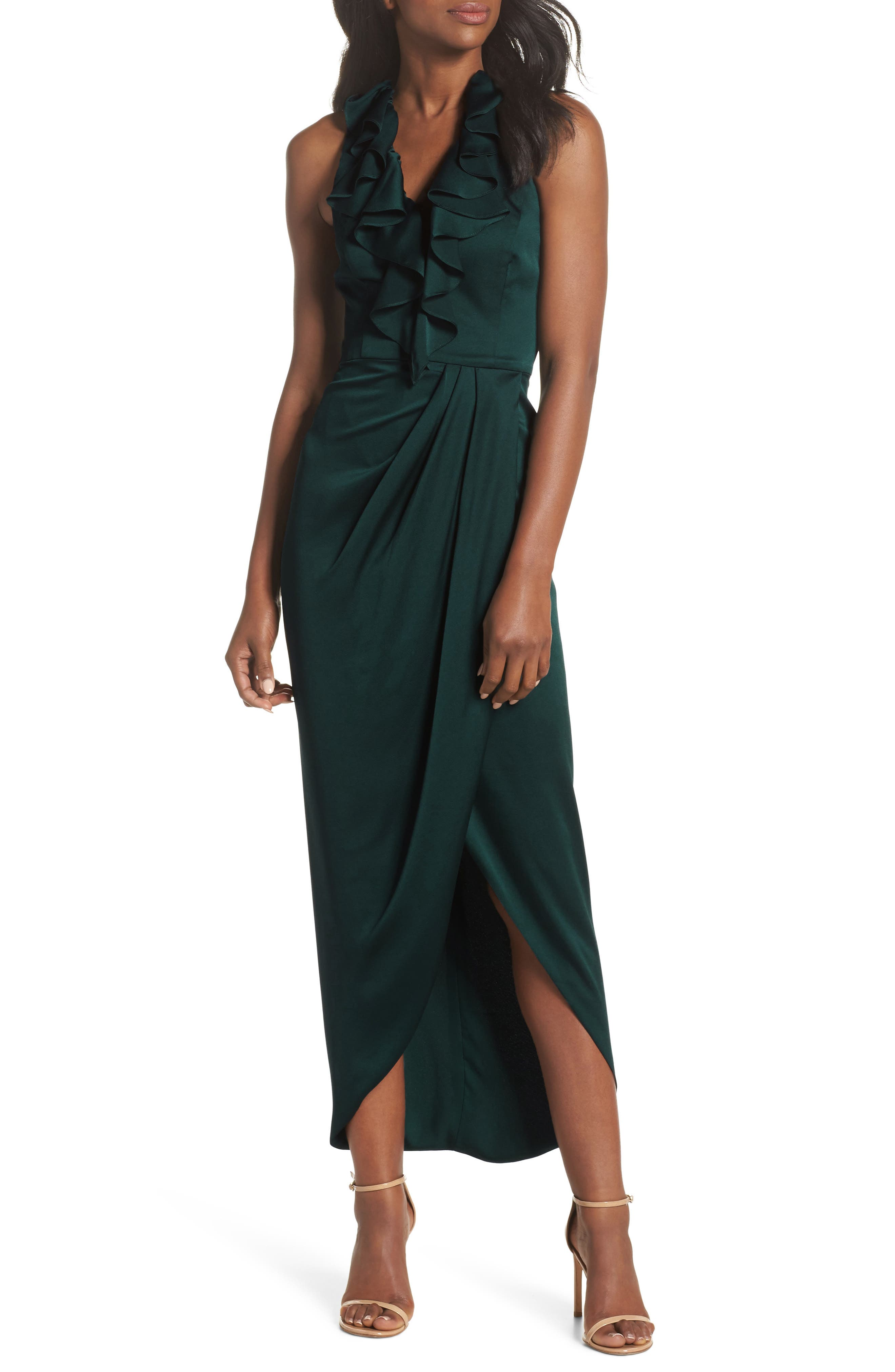 Luxe Plunging Frill Maxi Dress,                             Main thumbnail 1, color,                             300