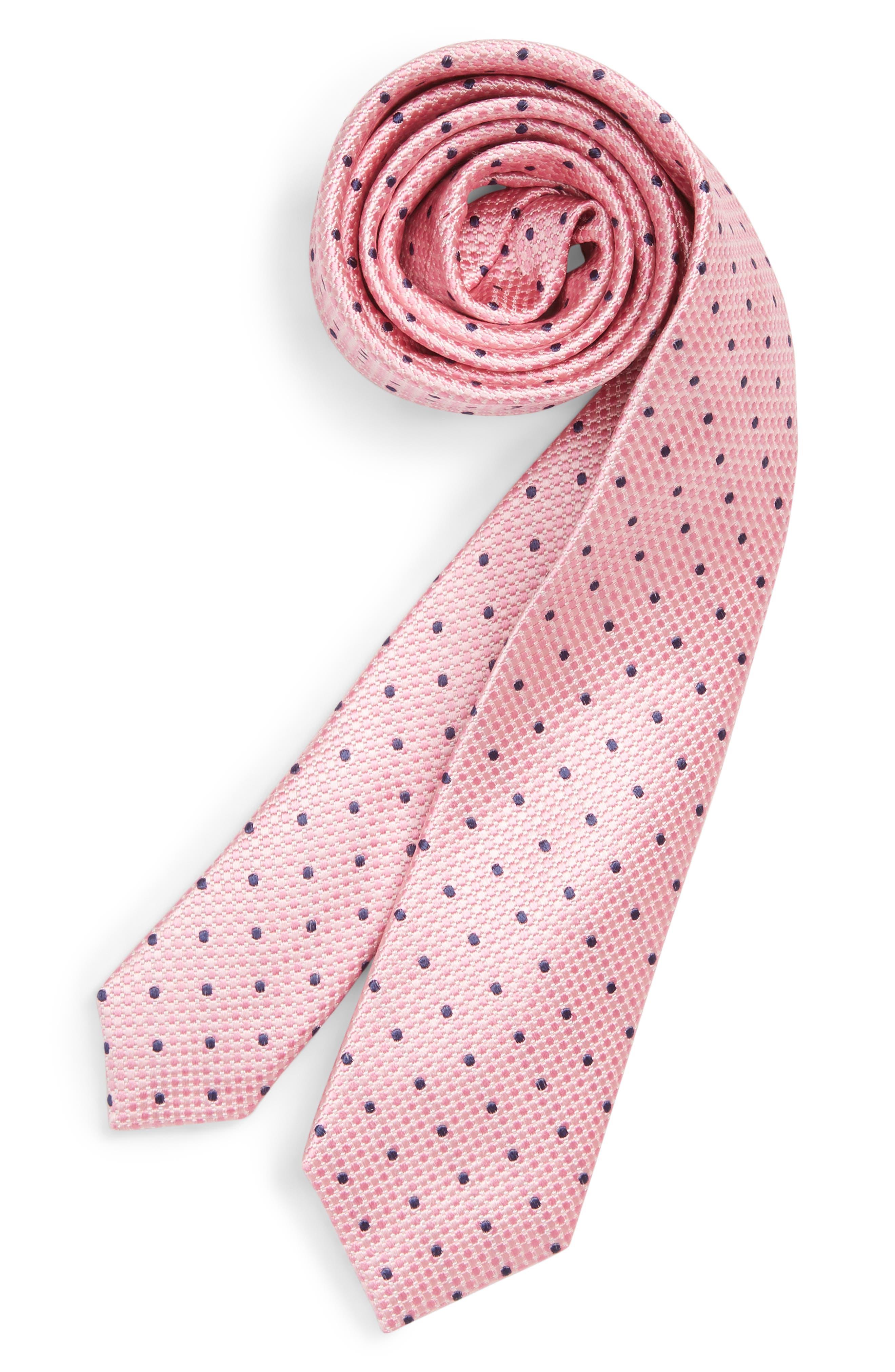 Dot Silk Tie,                         Main,                         color, PINK