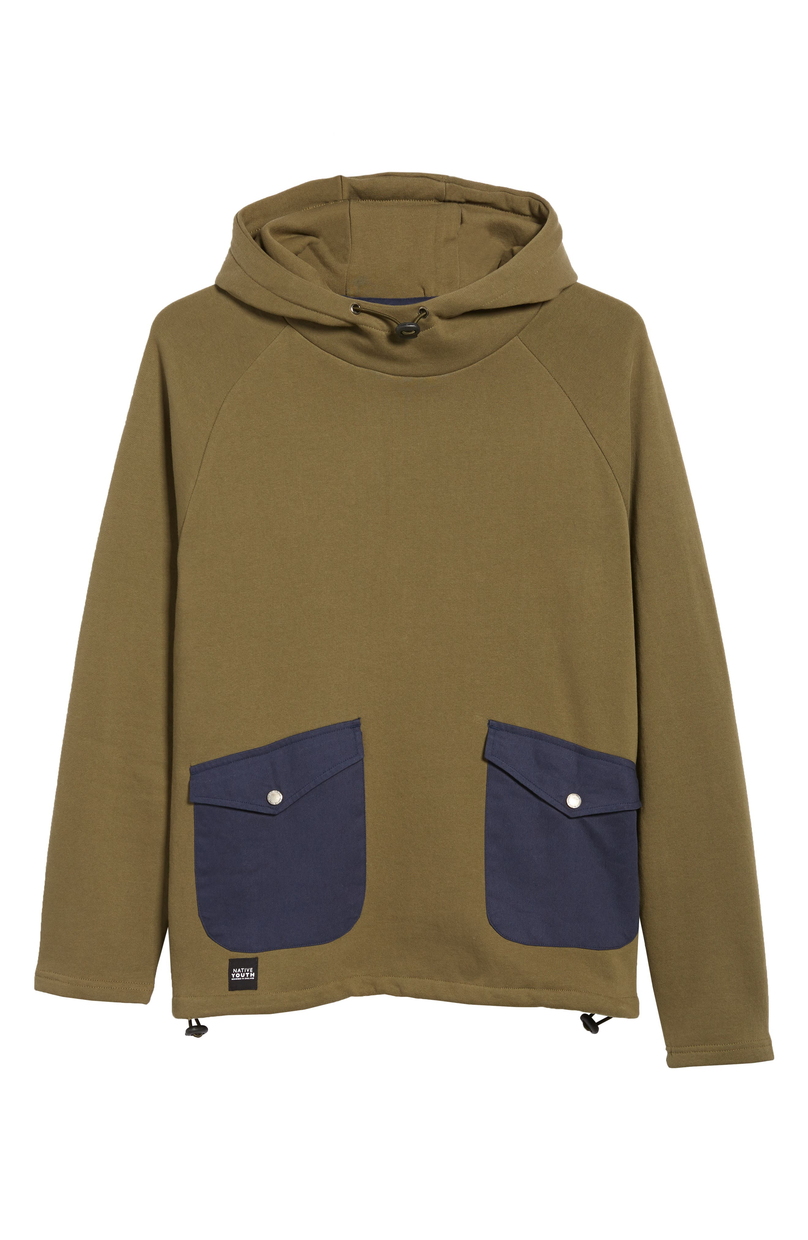 Patch Pocket Pullover Hoodie,                             Alternate thumbnail 6, color,                             OLIVE