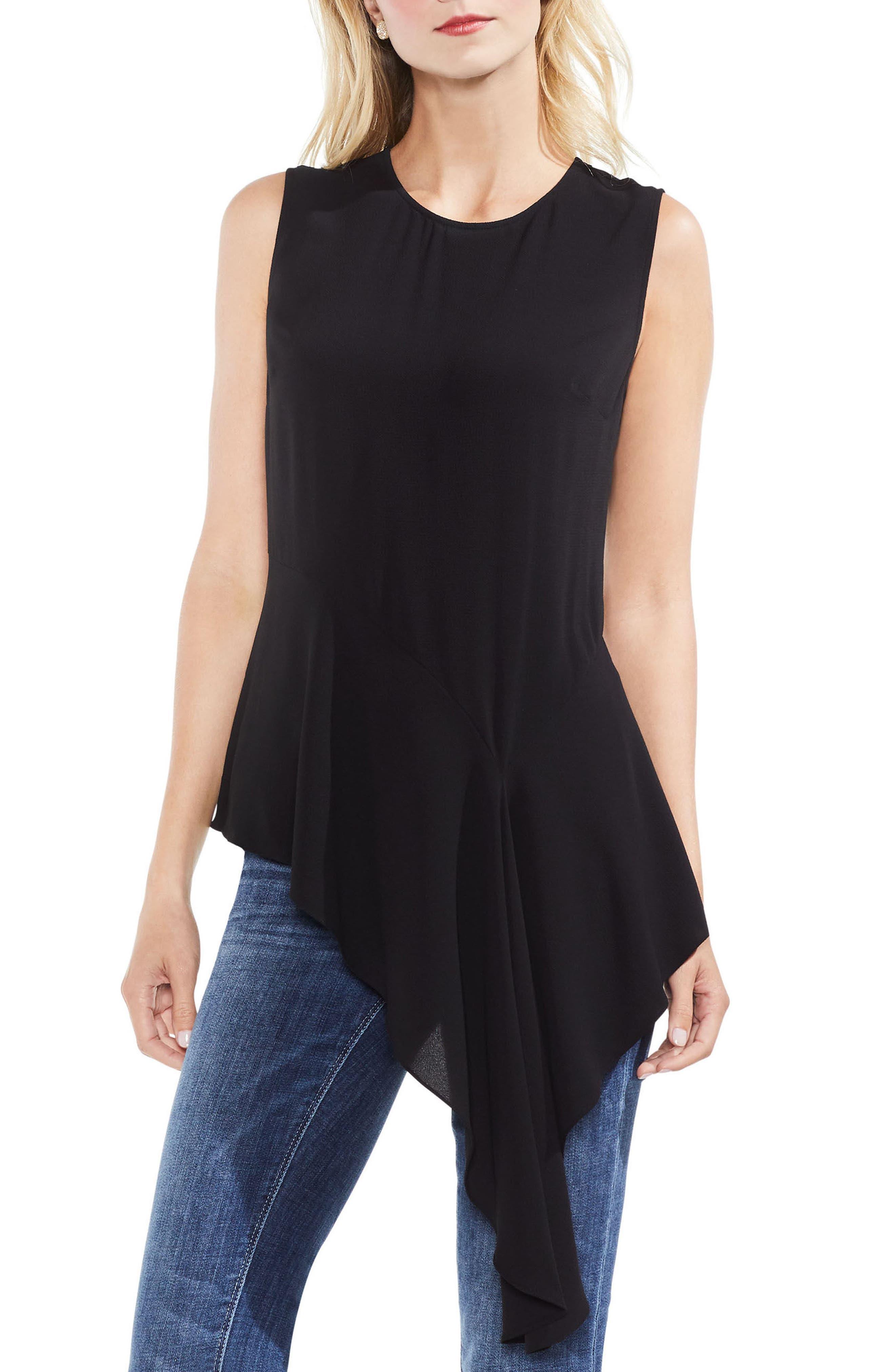 Sleeveless Asymmetrical Hem Blouse,                         Main,                         color,