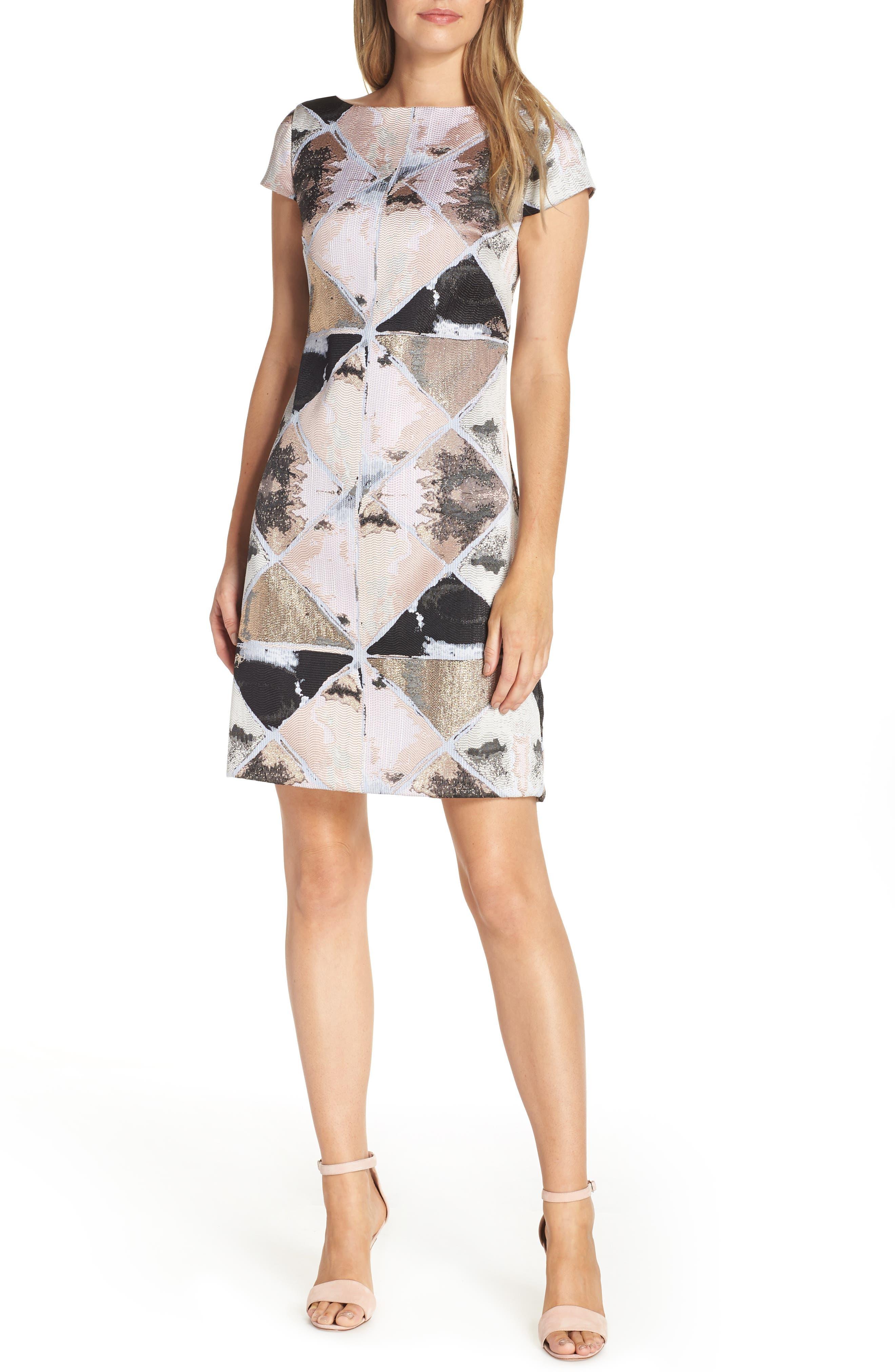 Jacquard Sheath Dress,                             Main thumbnail 1, color,                             BLUSH