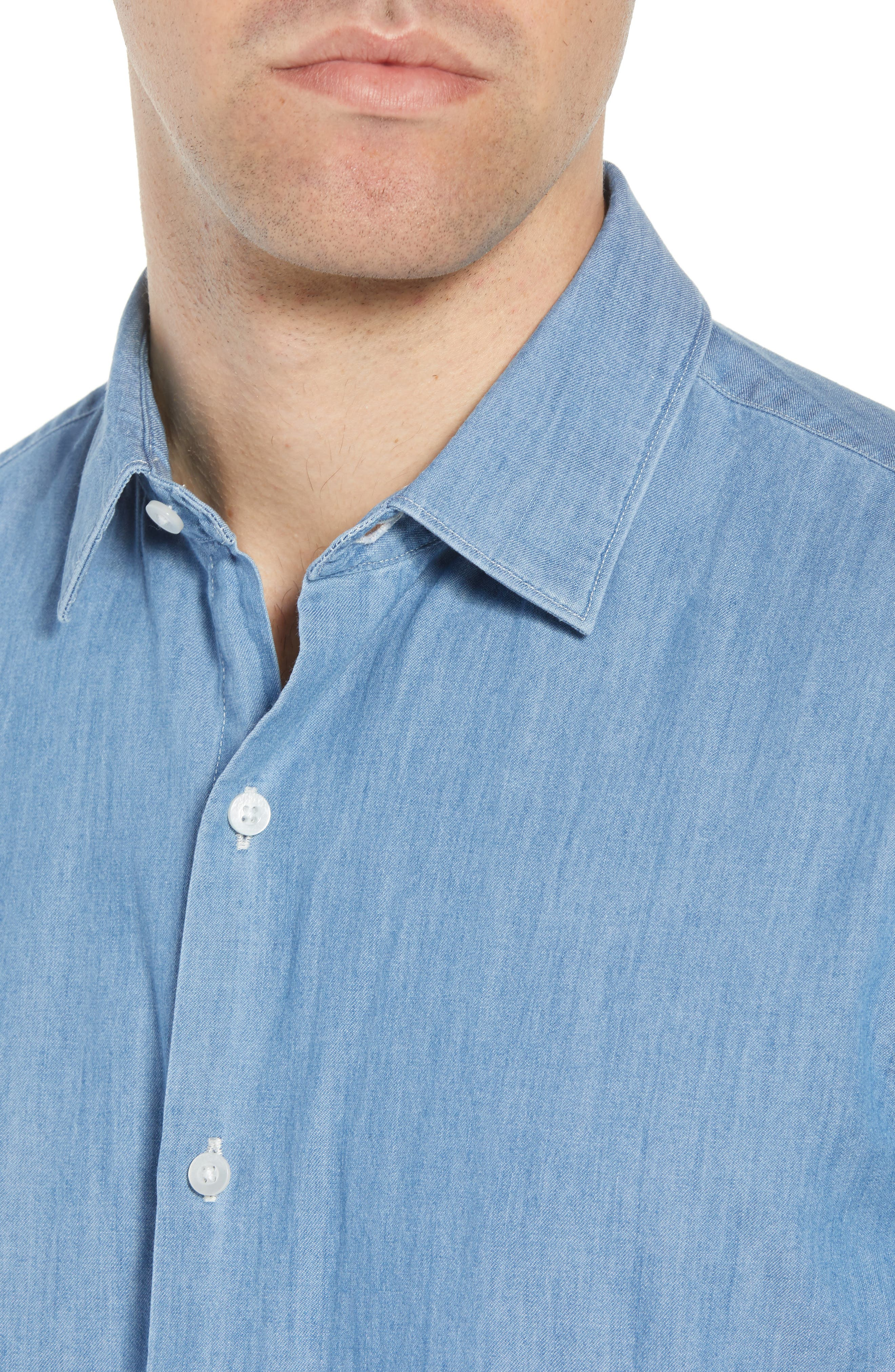 Unbutton Down 2.0 Slim Fit Chambray Sport Shirt,                             Alternate thumbnail 4, color,                             SOLID CHAMBRAY