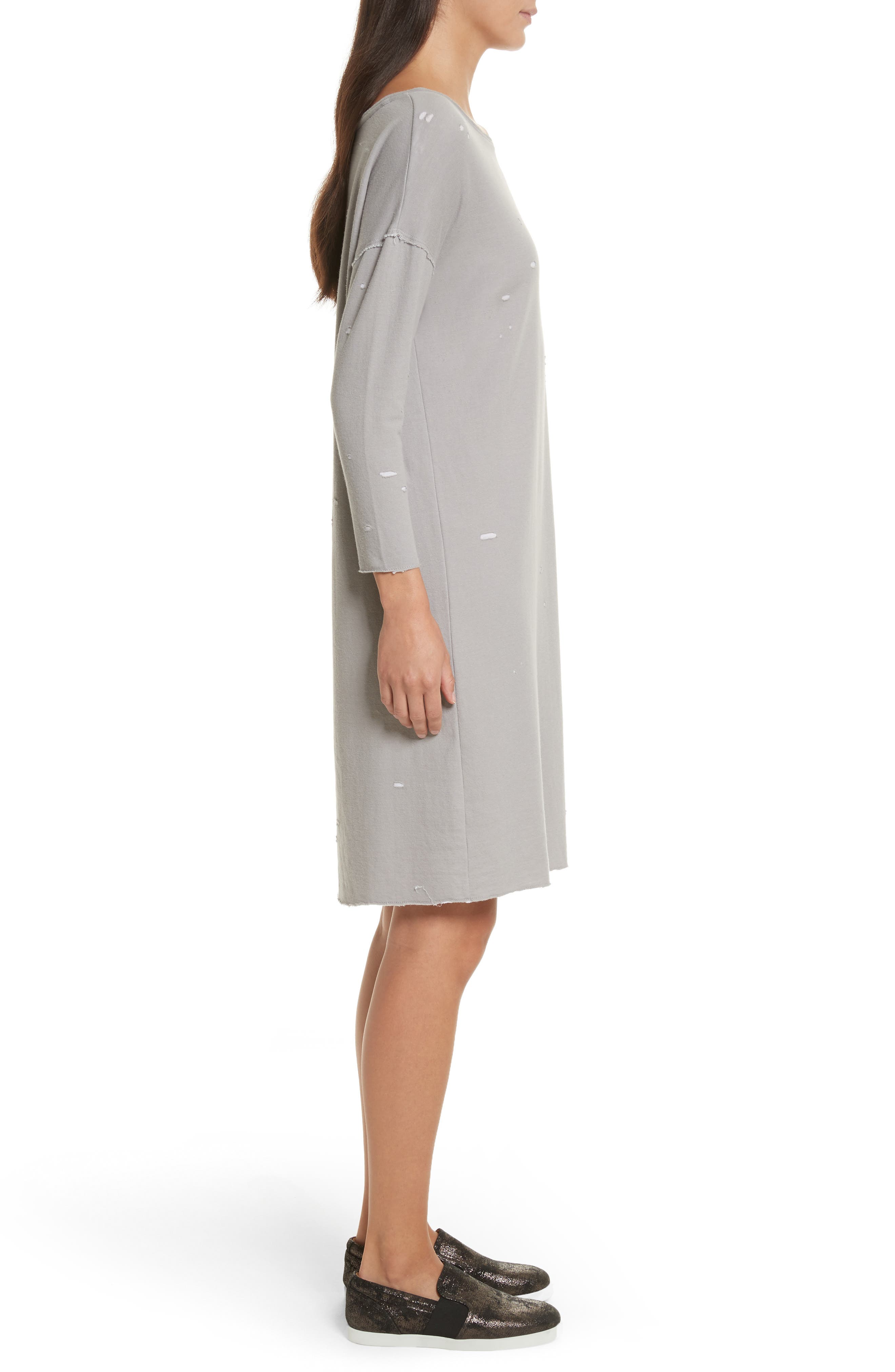 Destroyed Double-Faced Jersey Dress,                             Alternate thumbnail 3, color,