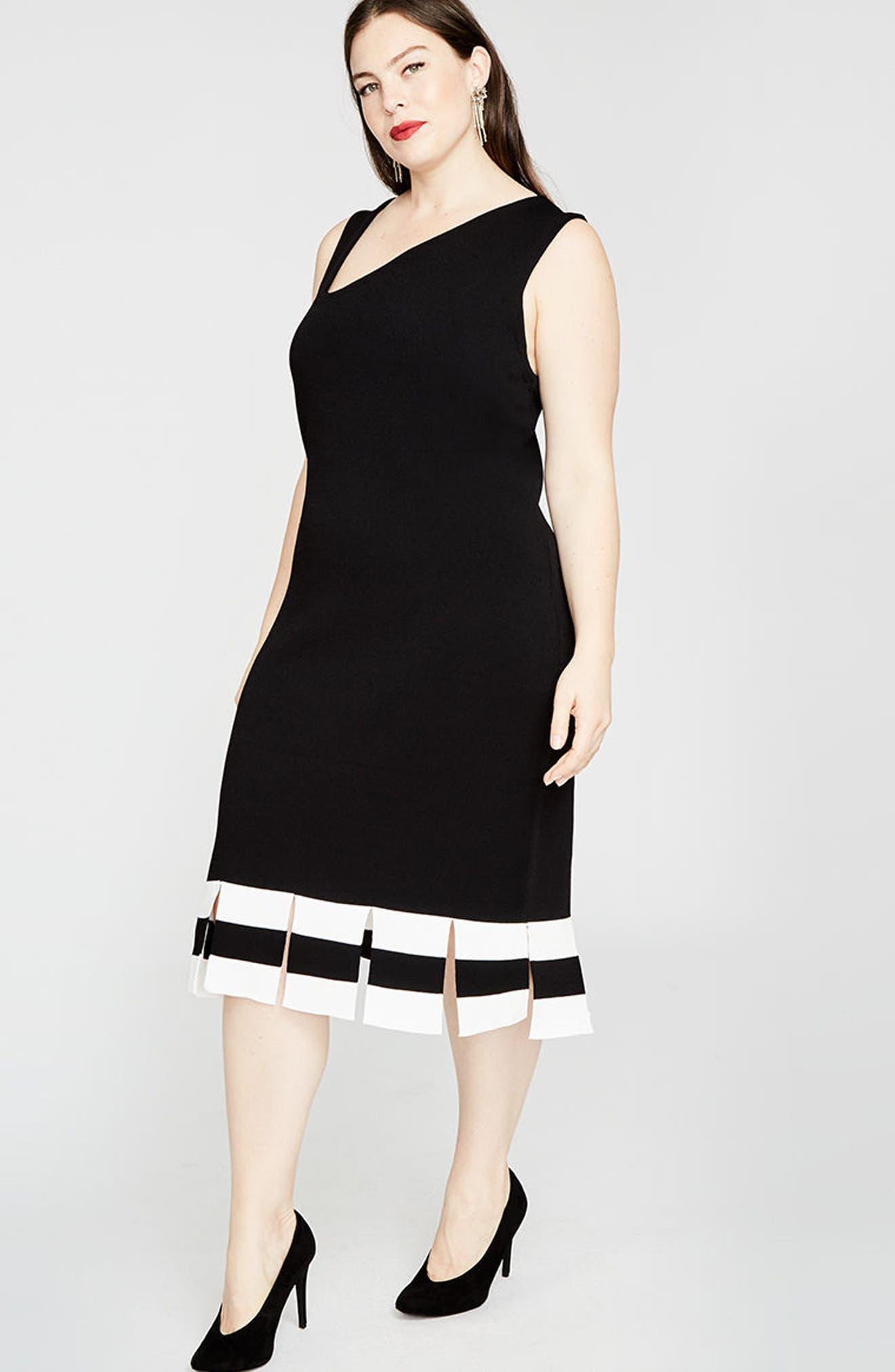 Stripe Carwash Hem Dress,                             Alternate thumbnail 6, color,                             001