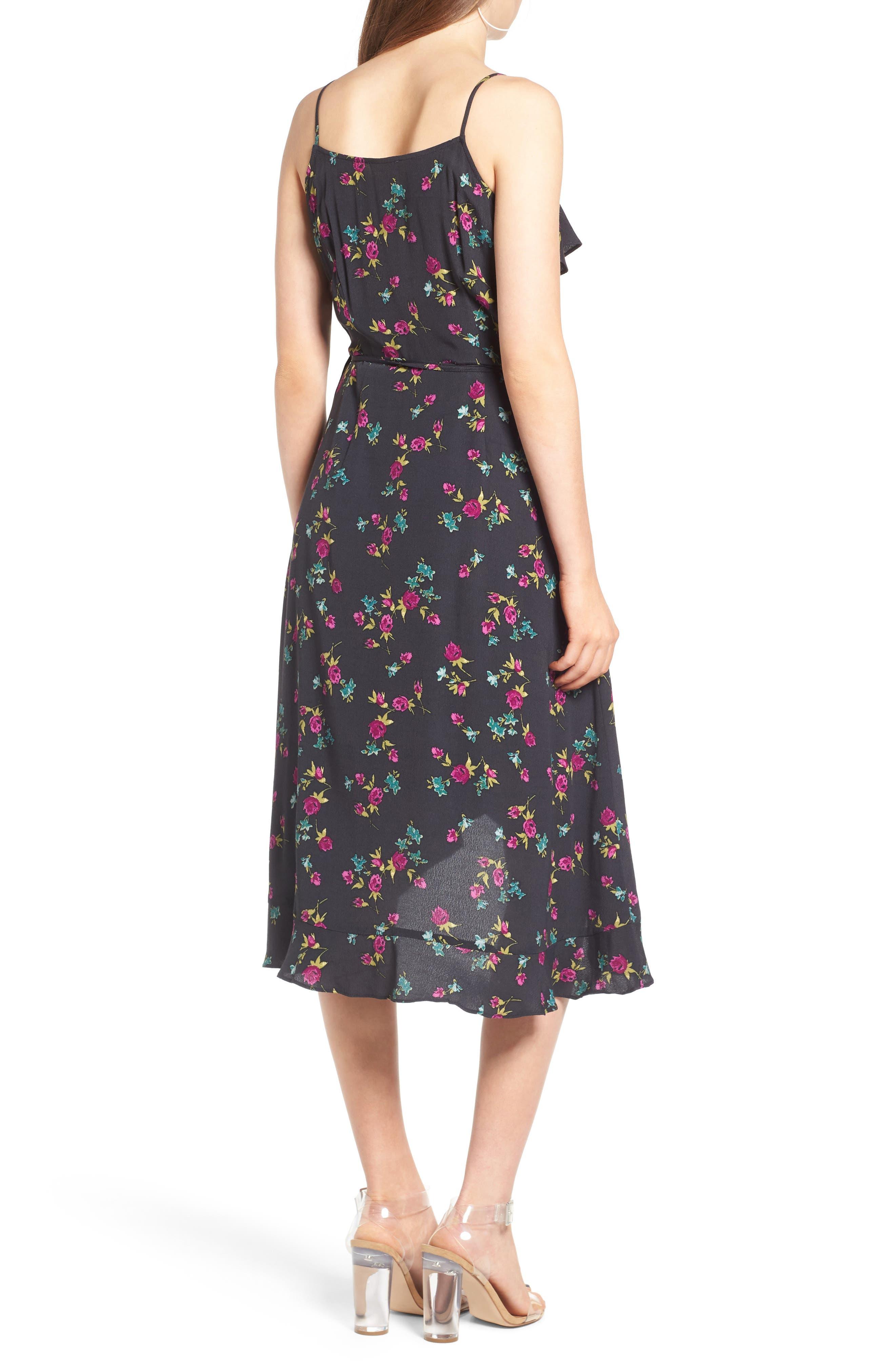Flounce Wrap Midi Dress,                             Alternate thumbnail 8, color,