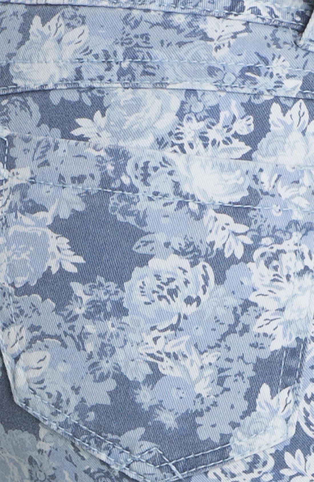 Floral Print Skinny Jeans,                             Alternate thumbnail 6, color,