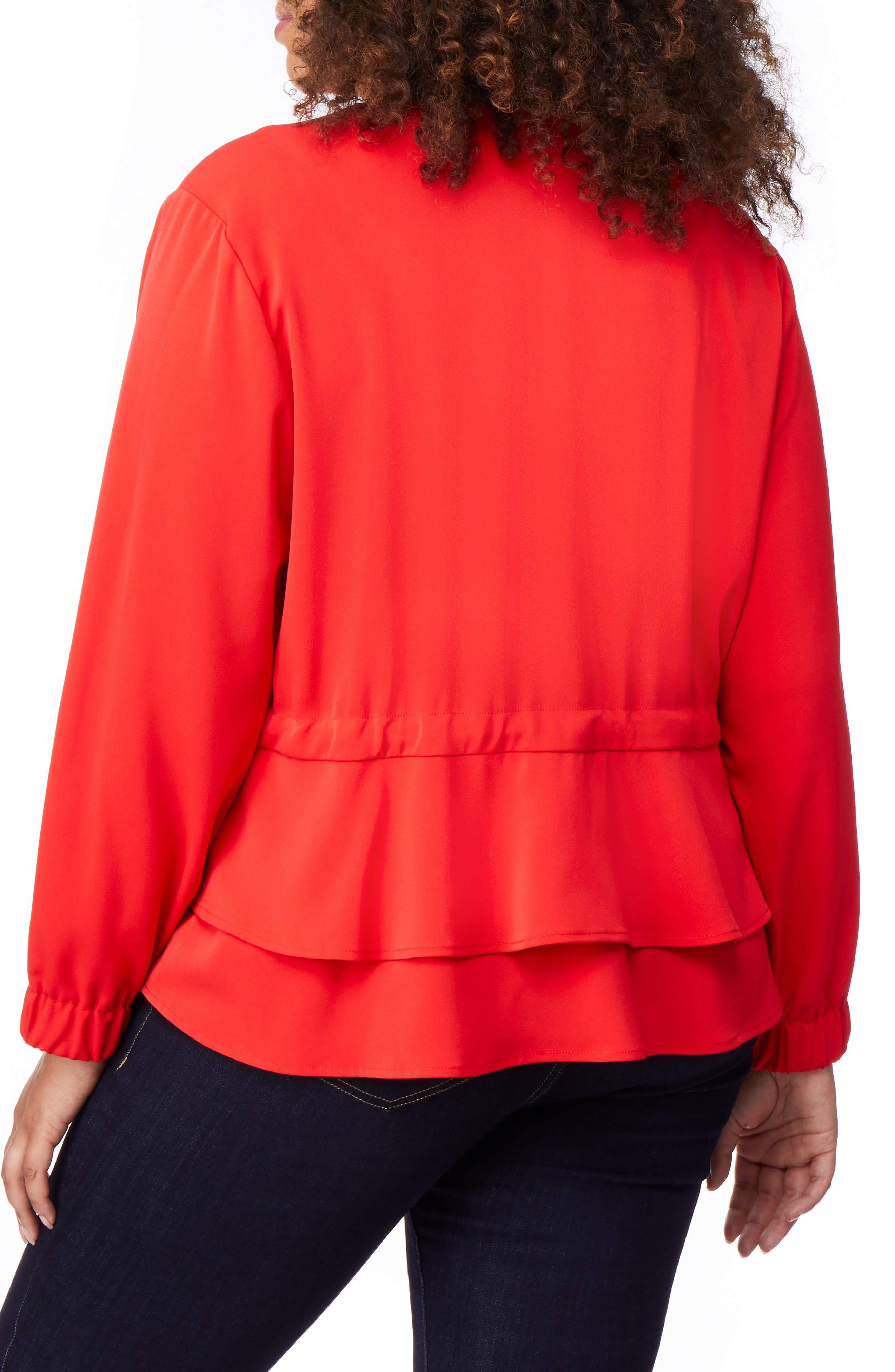 Tiered Peplum Jacket,                             Alternate thumbnail 2, color,                             FIERY RED