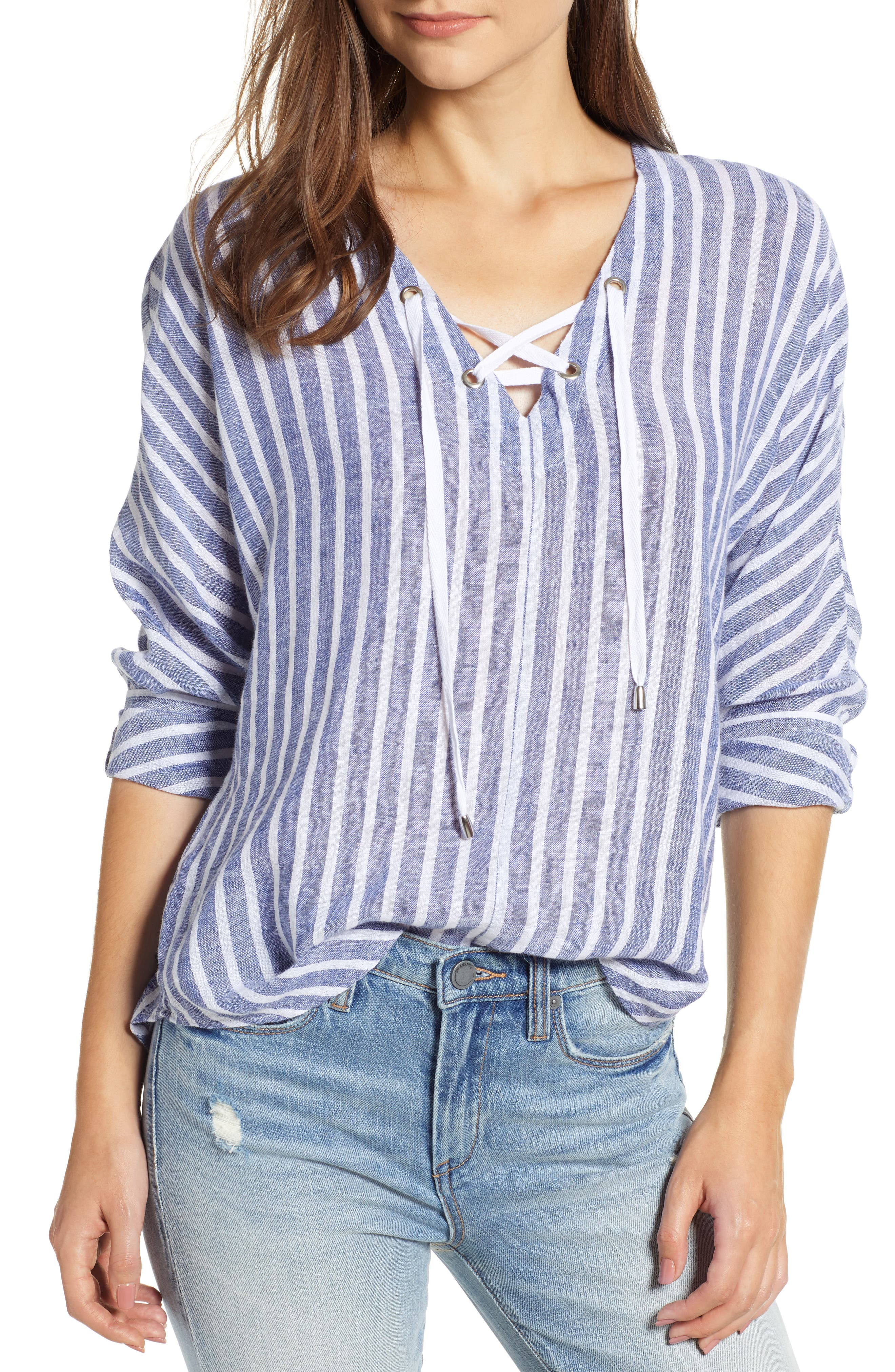 Lily Lace-Up Blouse,                             Main thumbnail 1, color,                             PARISIAN BLUE