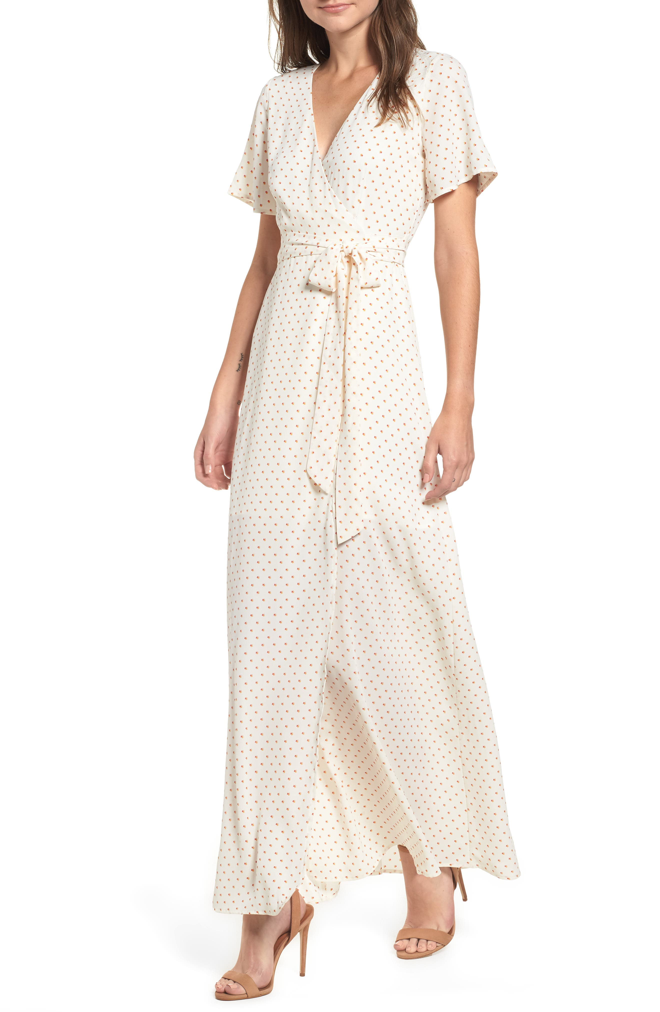 Leith Wrap Maxi Dress, Ivory