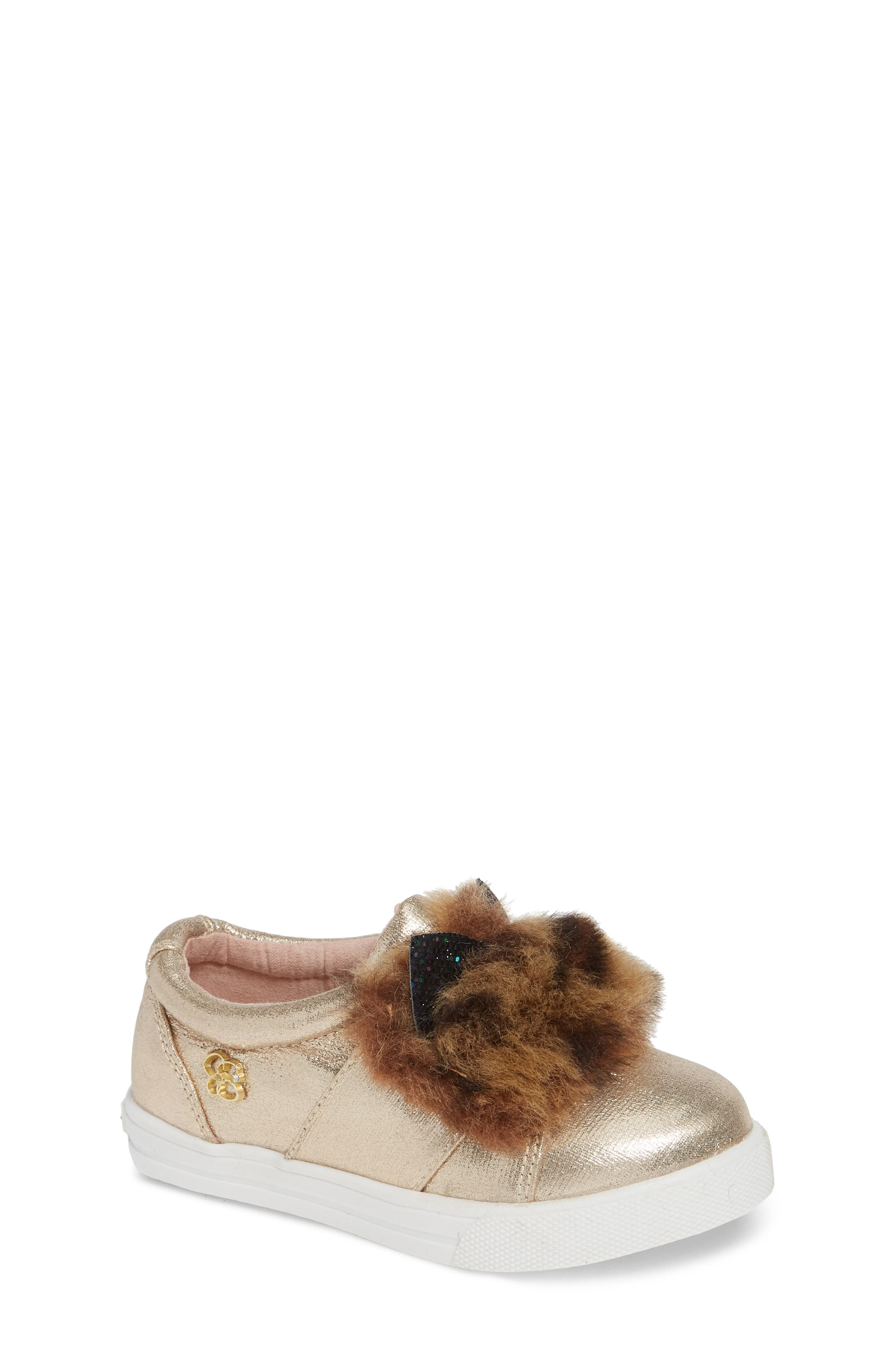 Faux Fur Slip-On Metallic Sneaker,                             Main thumbnail 1, color,                             GOLDEN METALLIC
