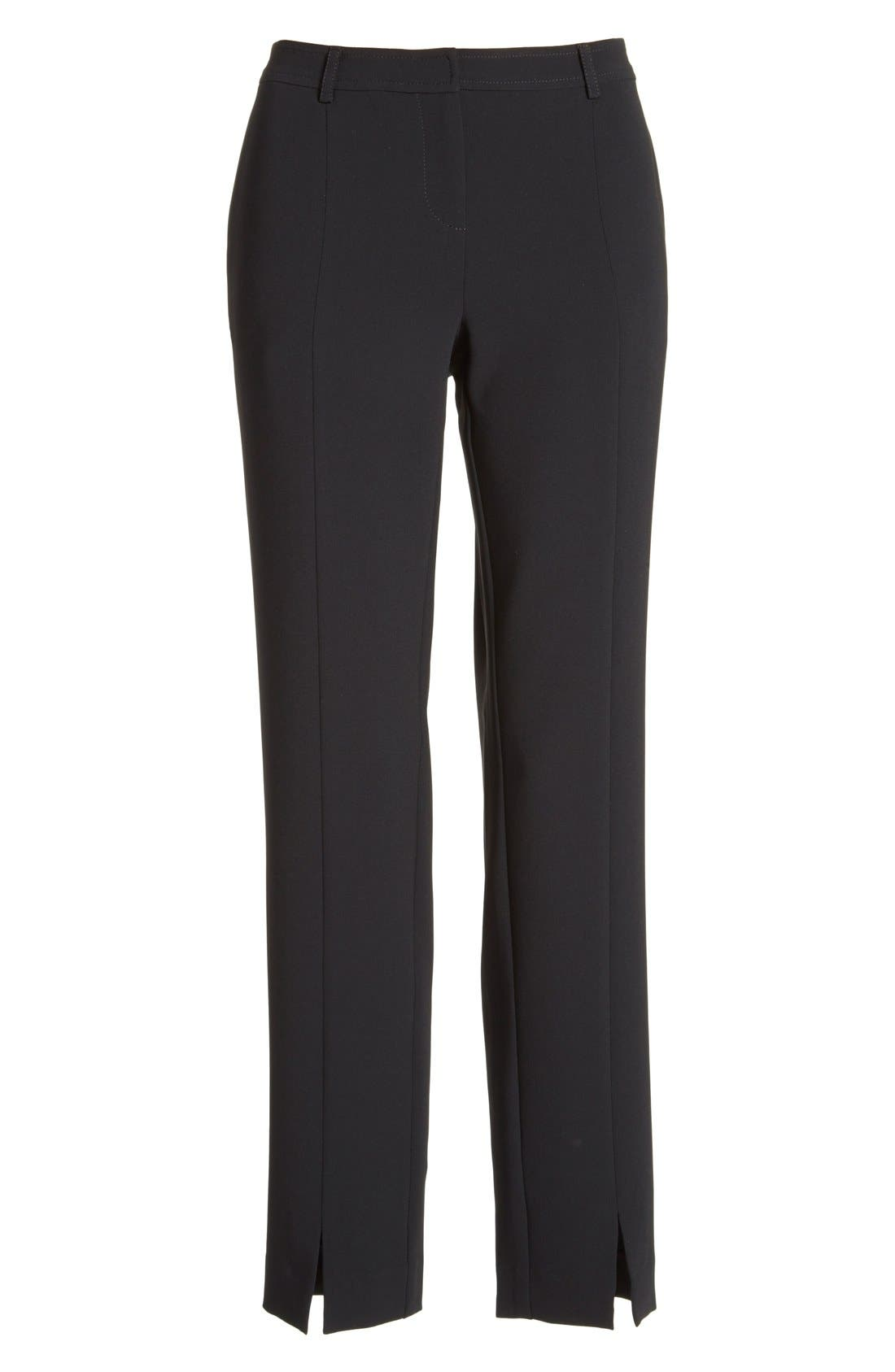 'Jennifer' Crepe Marocain Ankle Pants,                             Alternate thumbnail 6, color,                             CAVIAR