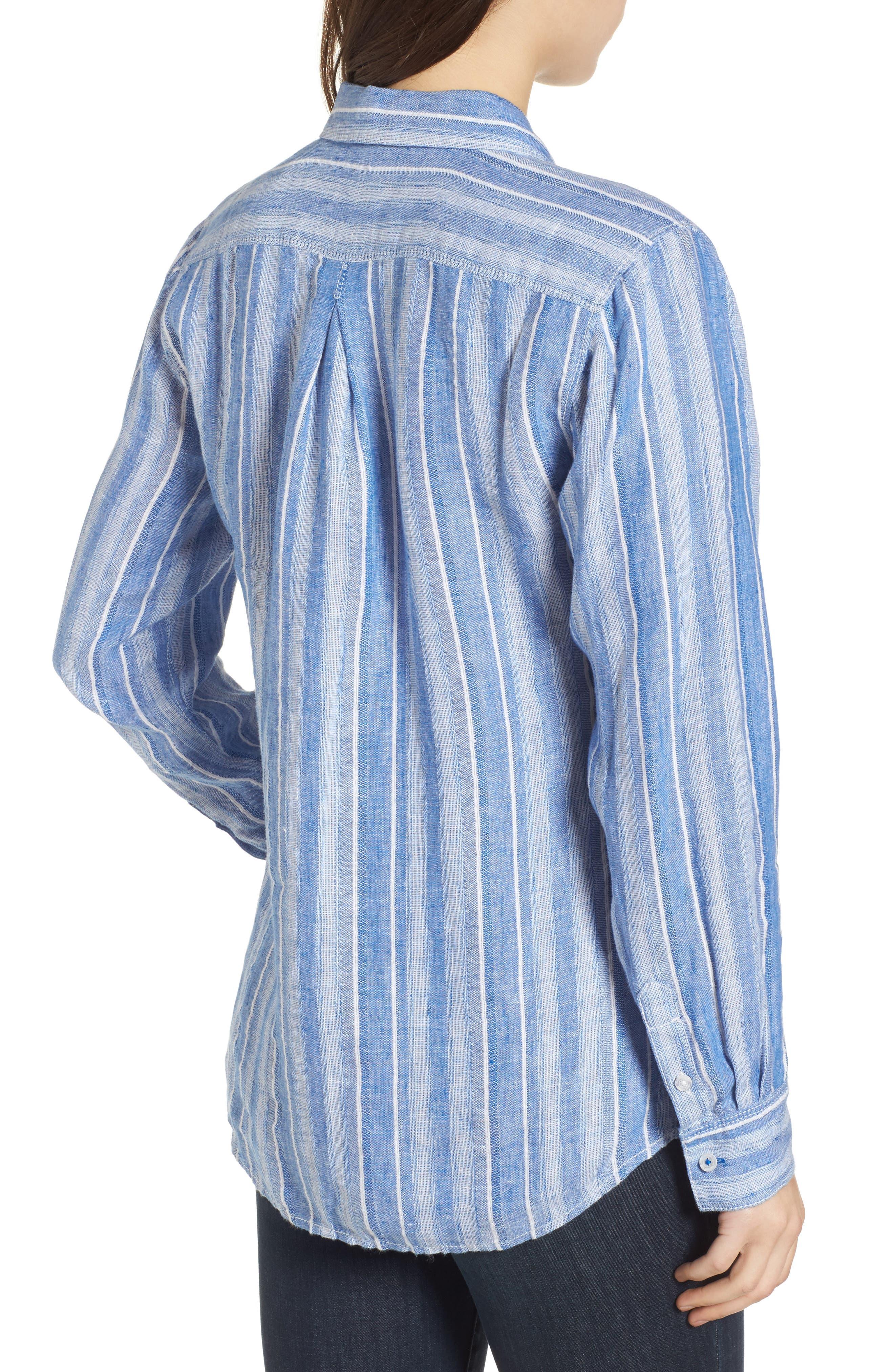 Santiago Stripe Linen Blend Shirt,                             Alternate thumbnail 2, color,                             BLUE SEA
