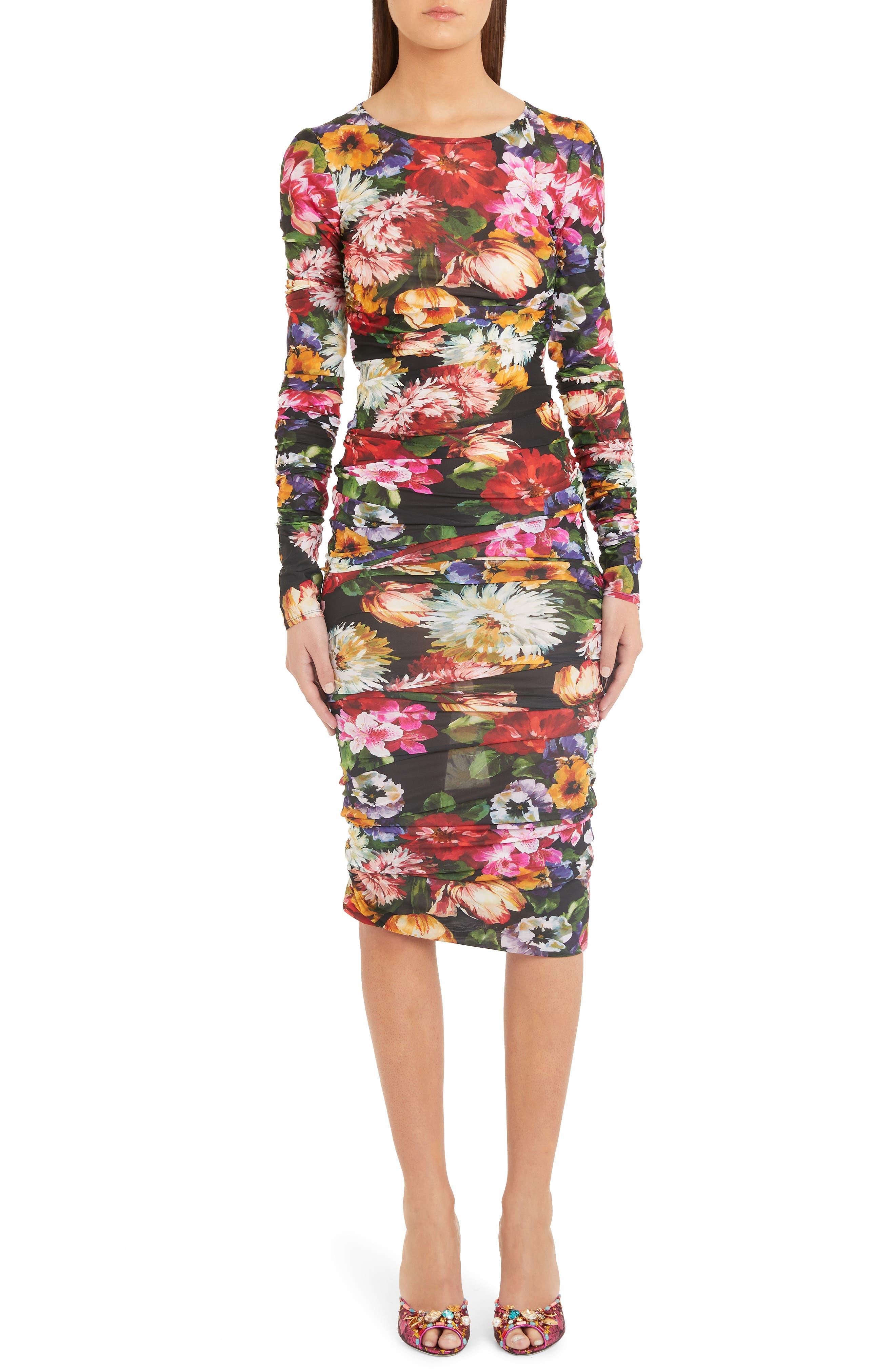 Dolce & gabbana Floral Print Midi Dress, US / 44 IT - Black