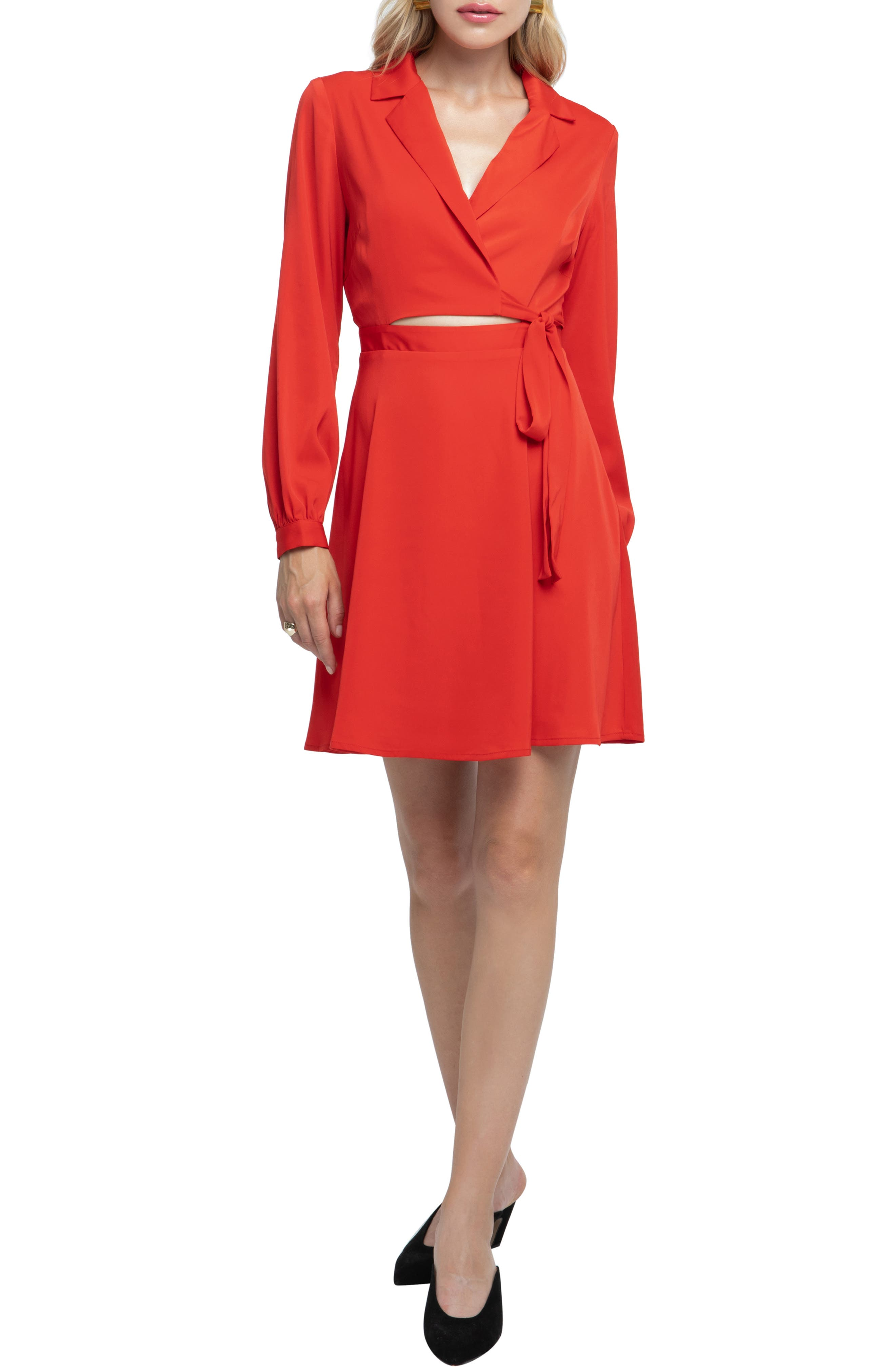 Astr The Label Cutout Wrap Dress, Red