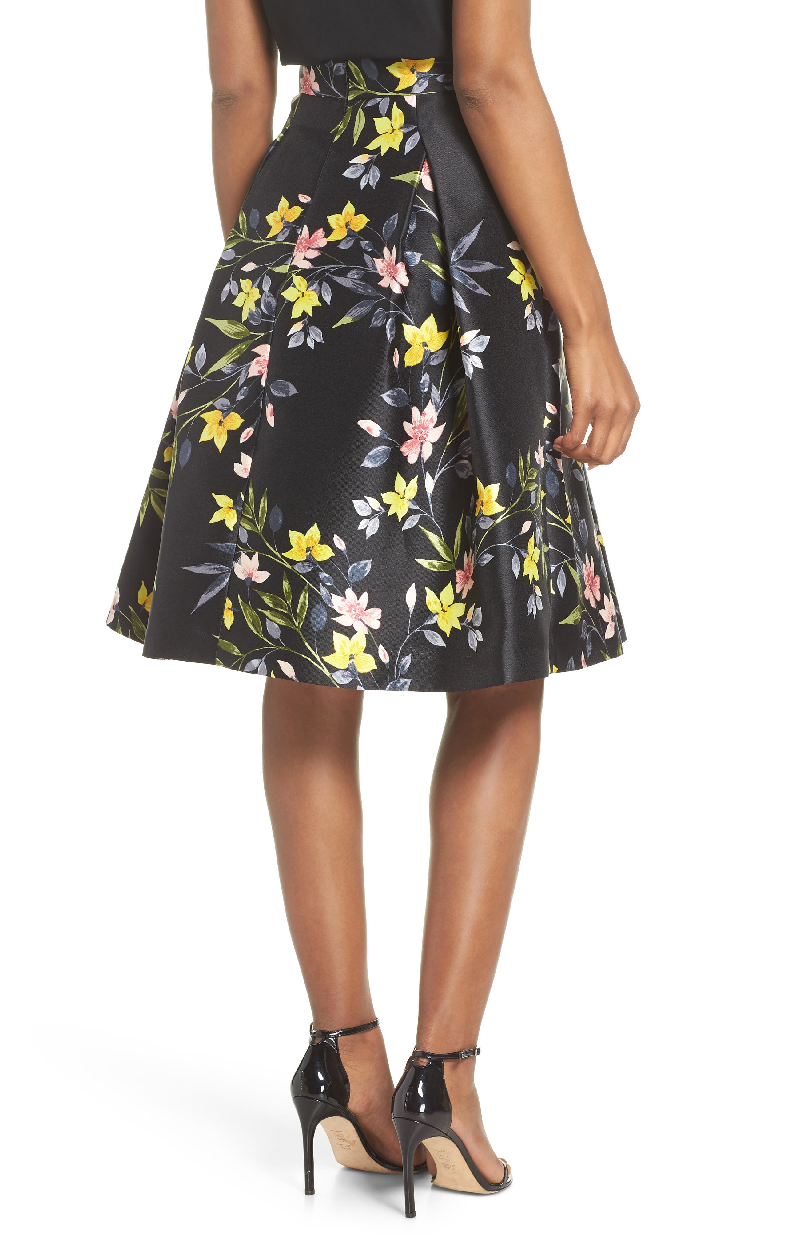 Floral A-Line Skirt,                             Alternate thumbnail 2, color,                             001
