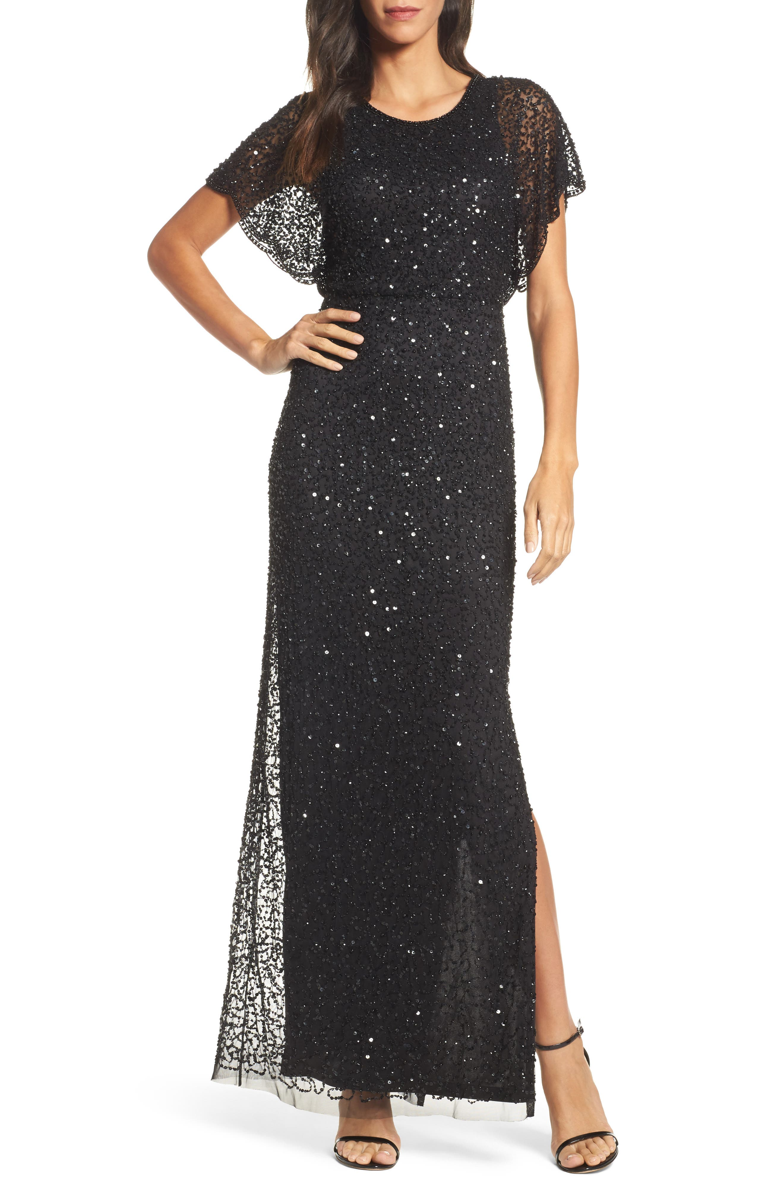 Beaded Flutter Sleeve Gown,                             Main thumbnail 1, color,                             002