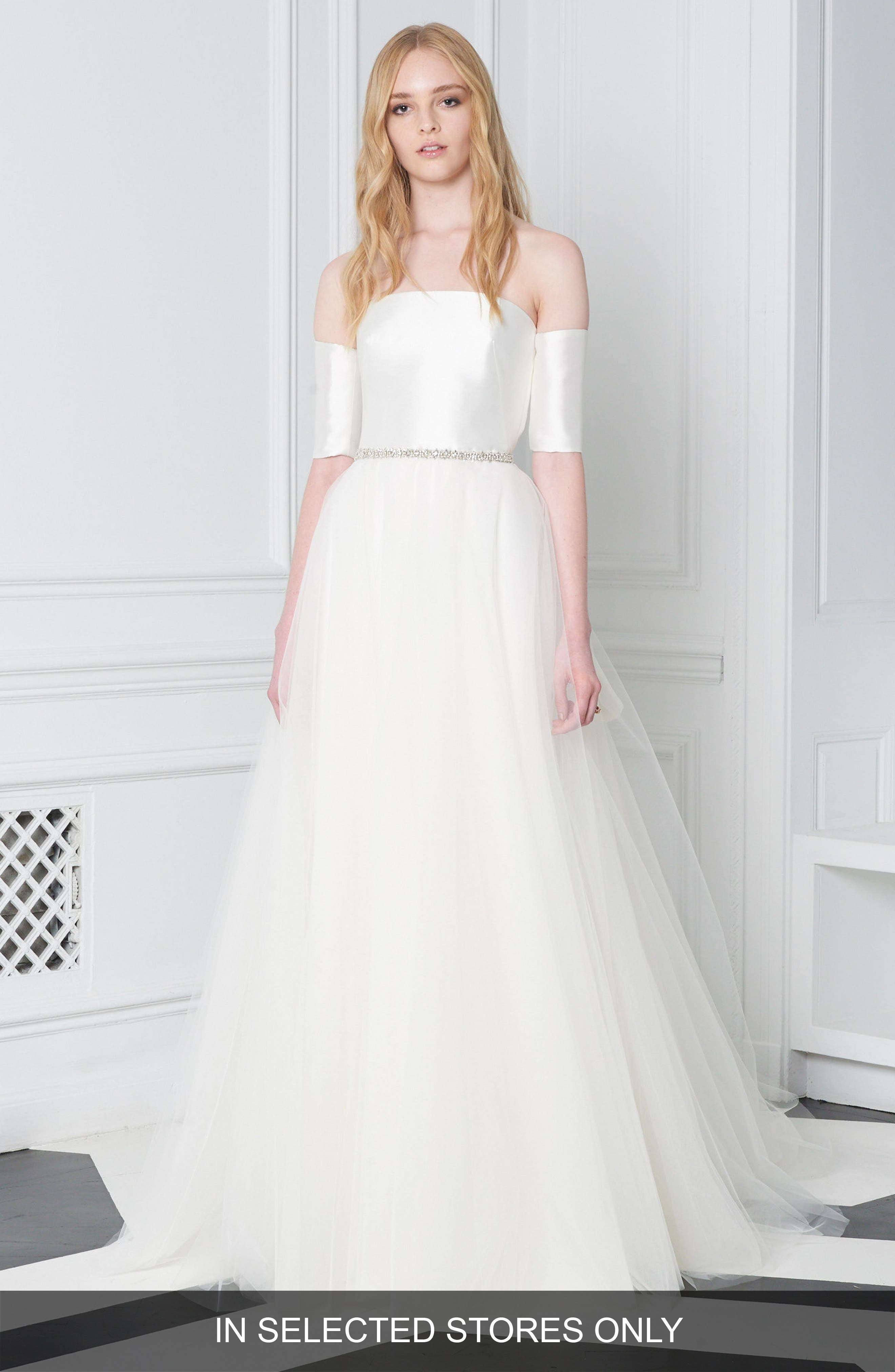Off the Shoulder Crystal Waist Ballgown,                         Main,                         color, IVORY