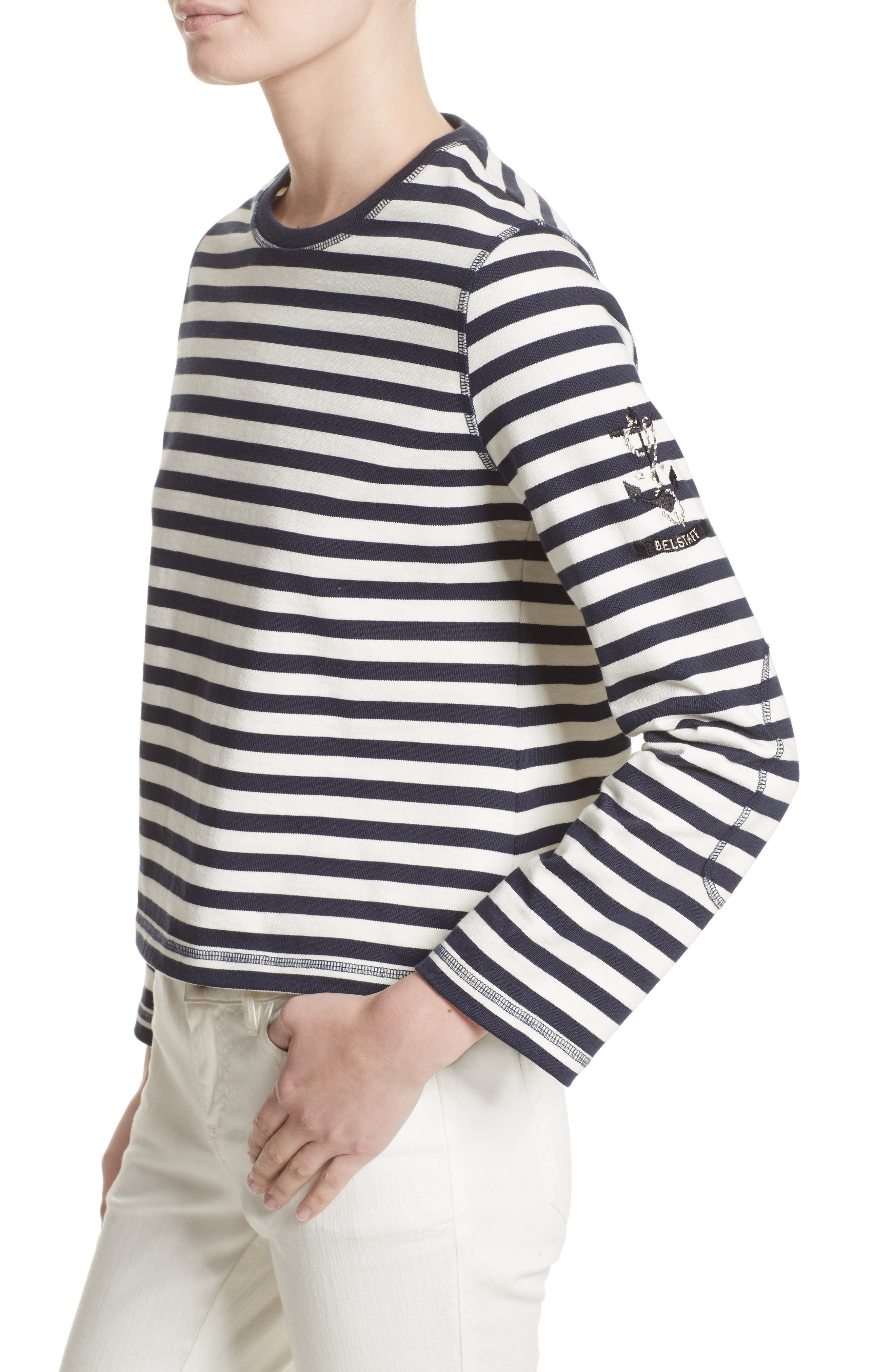 Christina Stripe Cotton Sweater,                             Alternate thumbnail 4, color,                             111