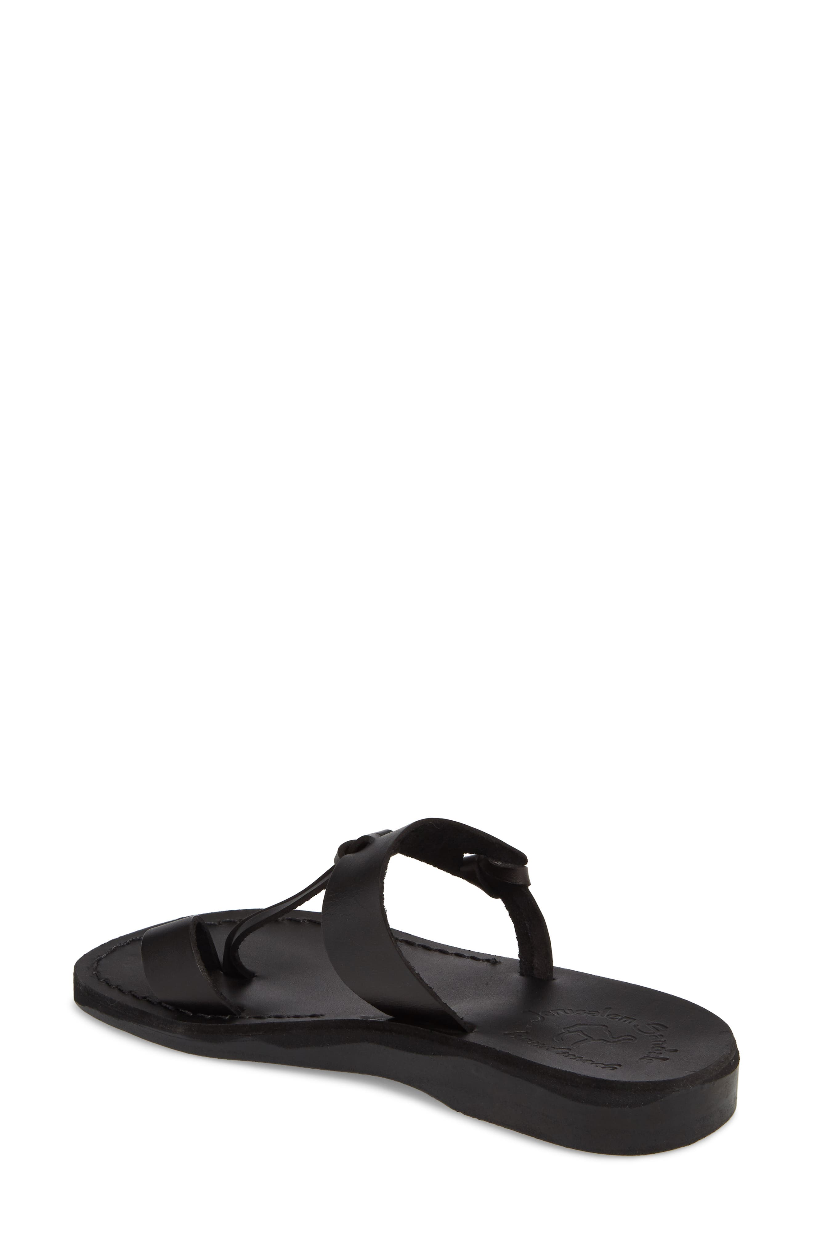 JERUSALEM SANDALS,                             David Toe-Loop Sandal,                             Alternate thumbnail 2, color,                             BLACK LEATHER