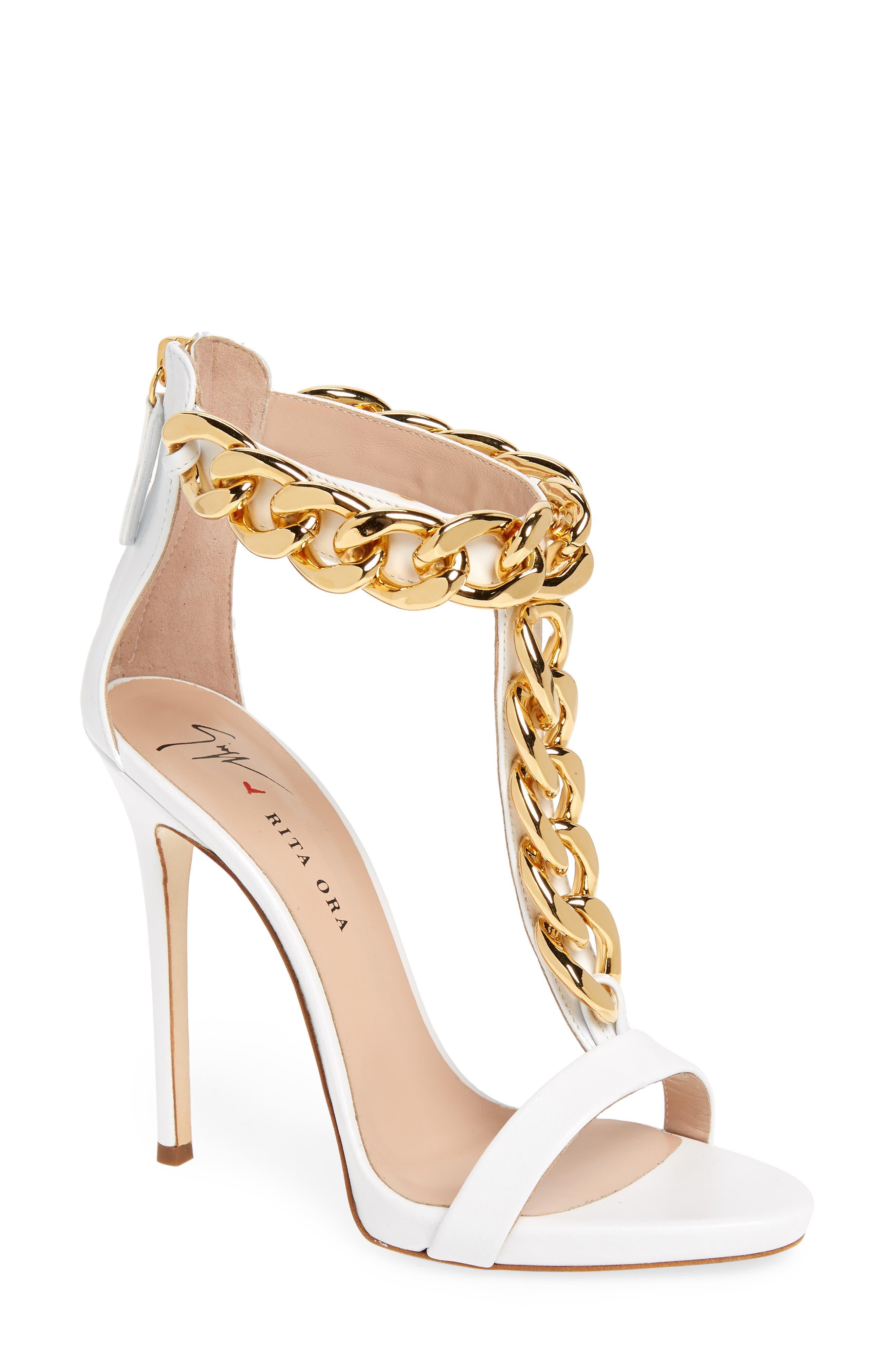 Rita Ora Curb Chain T-Strap Sandal,                             Main thumbnail 1, color,                             WHITE
