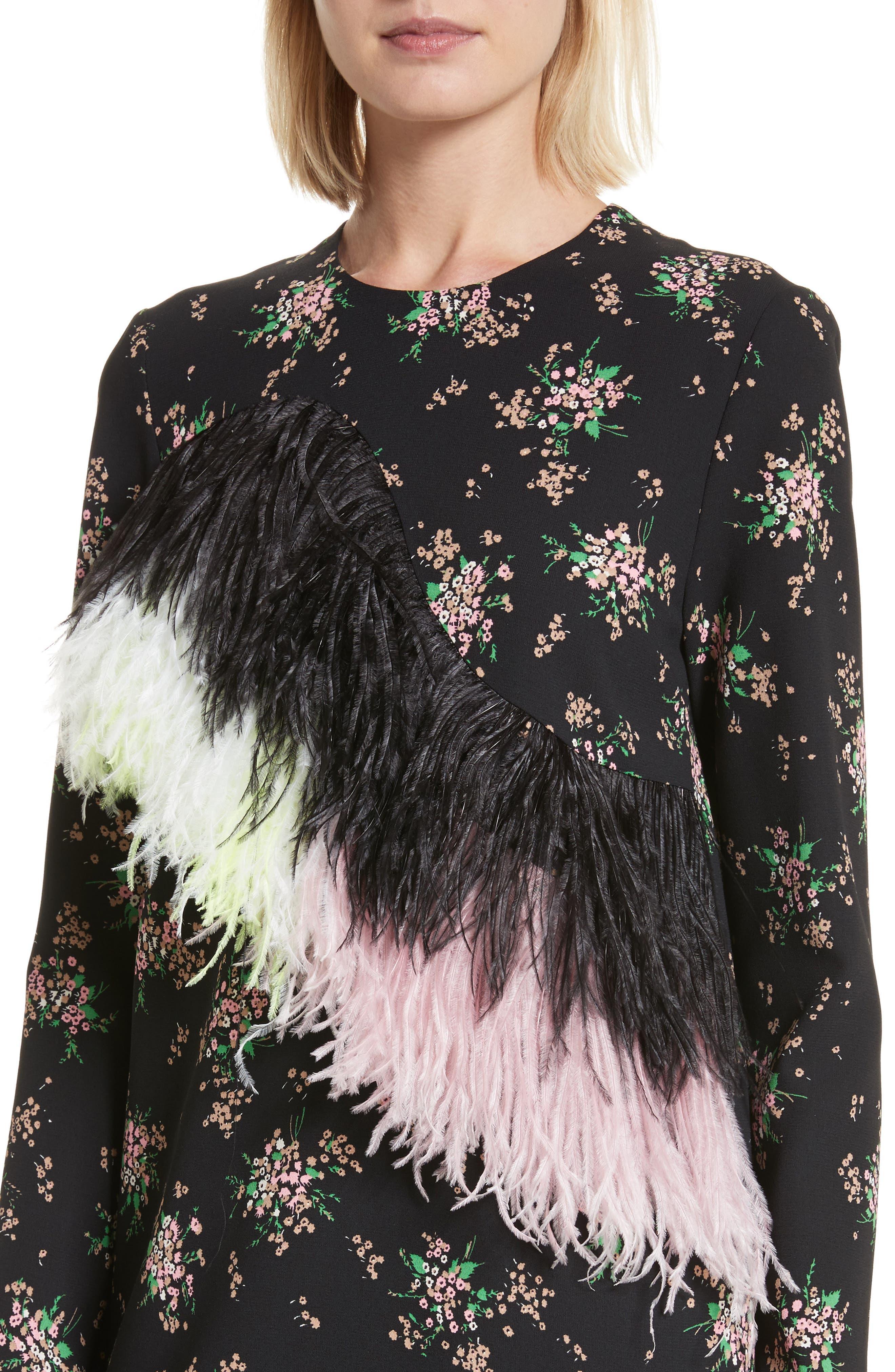 Ostrich Feather Trim Floral Print Dress,                             Alternate thumbnail 4, color,                             001