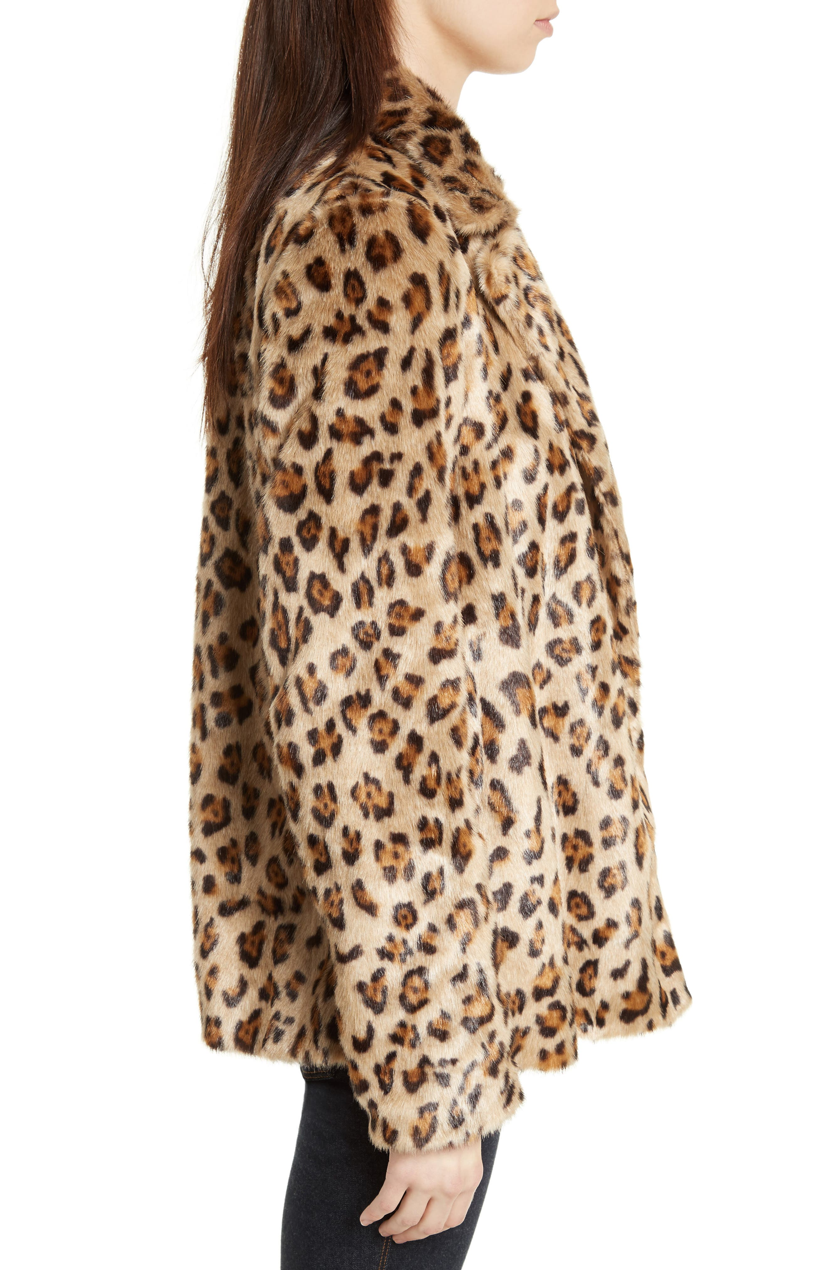Clairene Leopard Print Faux Fur Coat,                             Alternate thumbnail 3, color,