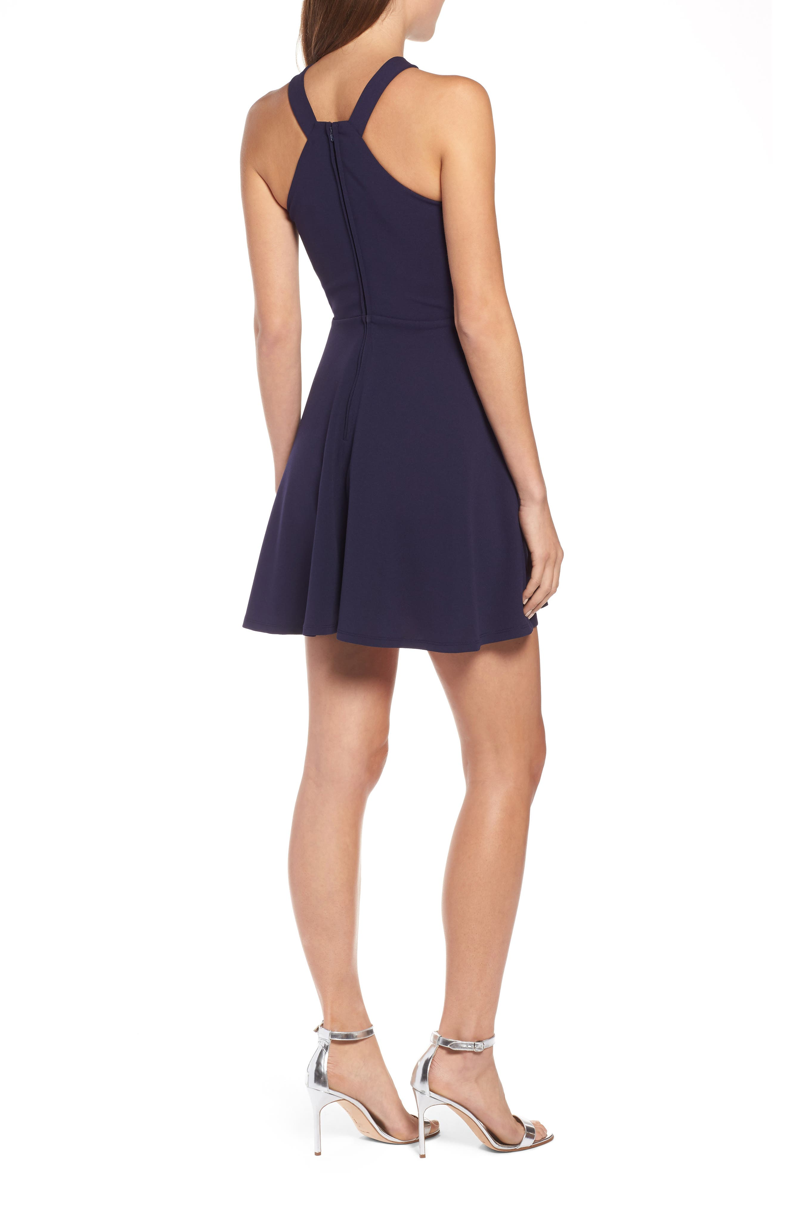 SPEECHLESS,                             Side Cutout Fit & Flare Dress,                             Alternate thumbnail 2, color,                             MIDNIGHT