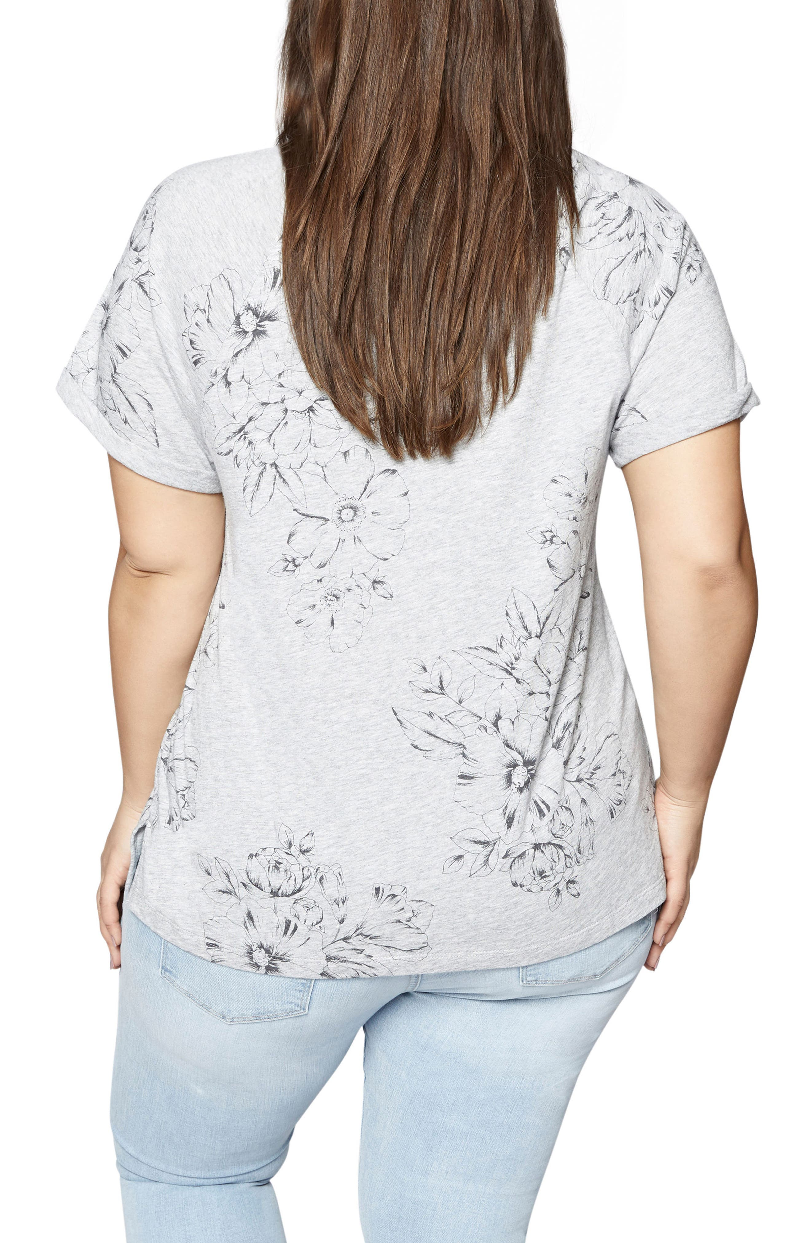 Hibiscus V-Neck Tee,                             Alternate thumbnail 2, color,                             032