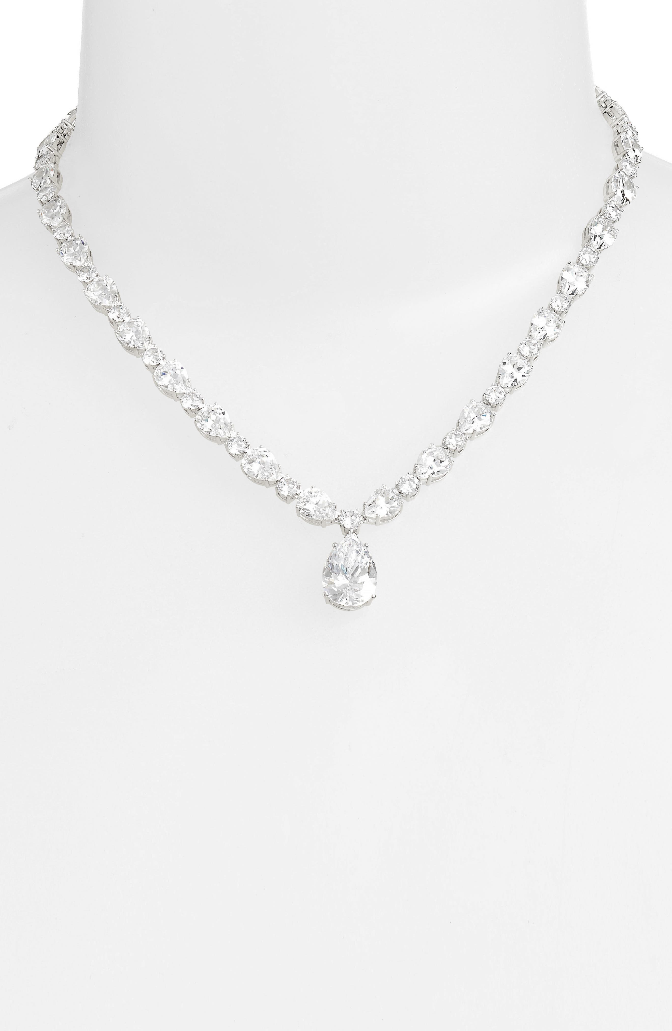 Cubic Zirconia Collar Necklace,                             Alternate thumbnail 2, color,                             SILVER