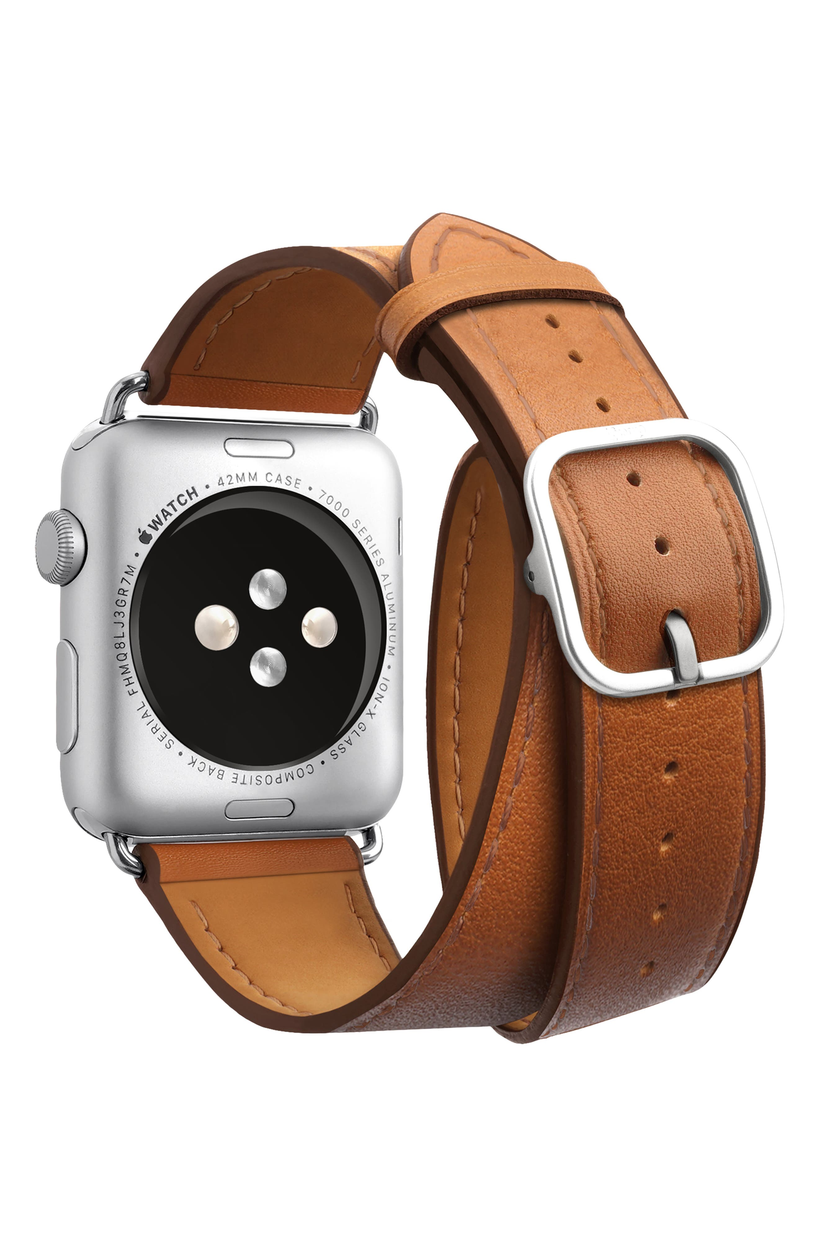 Double Tour Leather Apple Watch Strap,                             Alternate thumbnail 2, color,                             BROWN