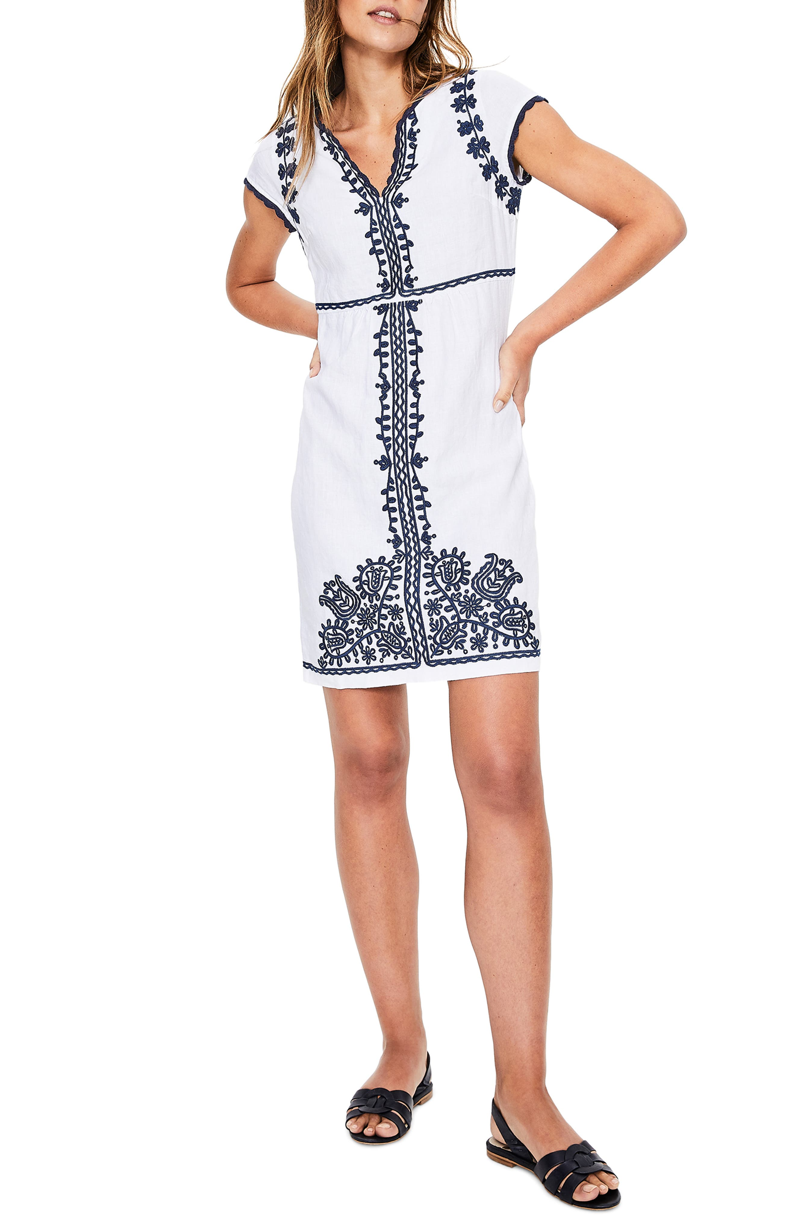 Notched Neck Embroidered Shift Dress, Main, color, WHITE AND BLUE EMBROIDERY