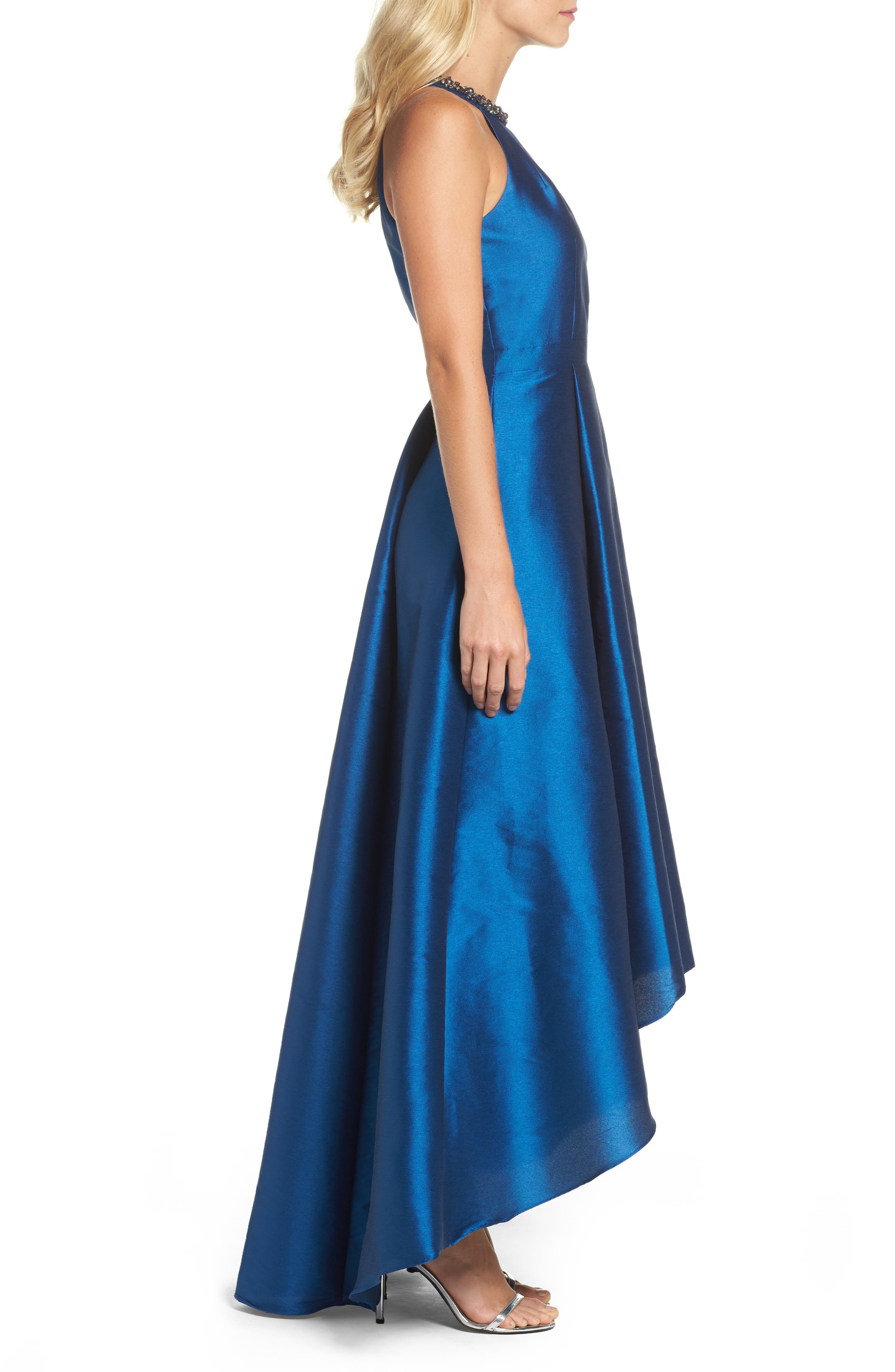 Beaded Neck Faille Gown,                             Alternate thumbnail 3, color,                             473