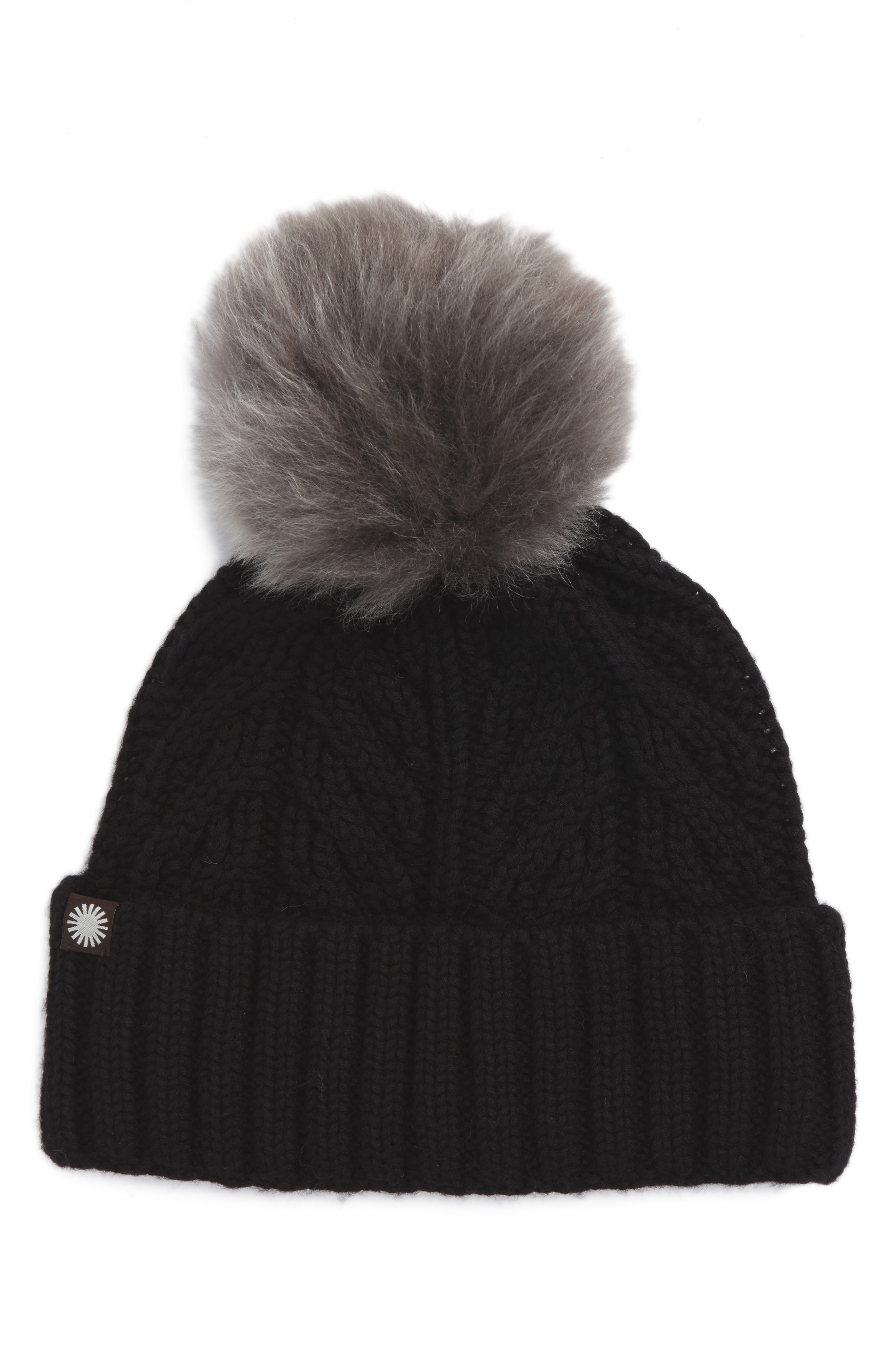 UGG<sup>®</sup> Cable Knit Cuff Hat with Genuine Shearling Pom,                             Main thumbnail 1, color,                             003