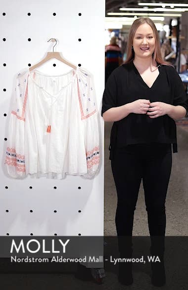 Embroidered Peasant Top, sales video thumbnail